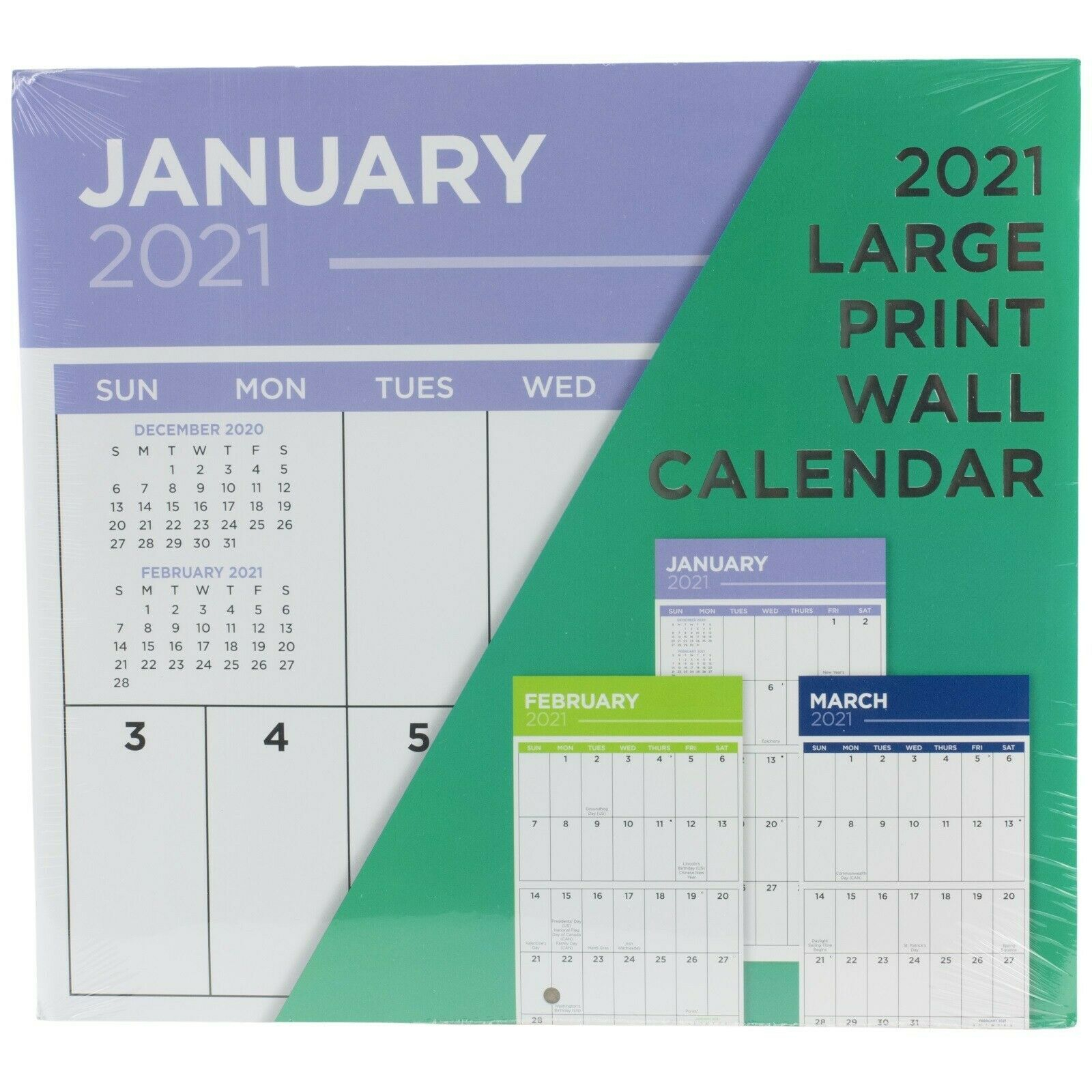 """Details About 2021 Large Print 16 Month Wall Calendar 12"""" X 11"""" Sept 2020  To Dec 2021"""