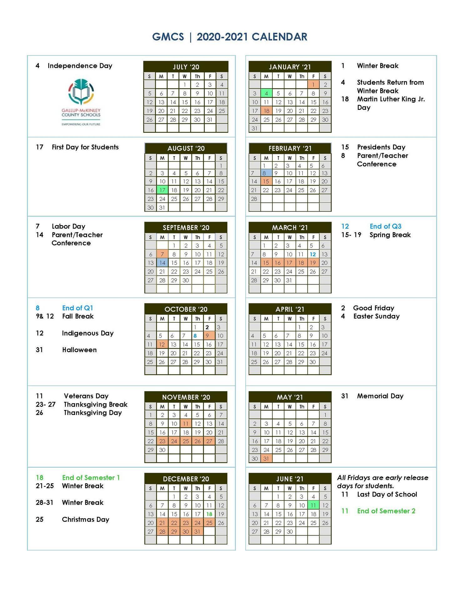 District School Year Calendar/Graduation Dates – Parents