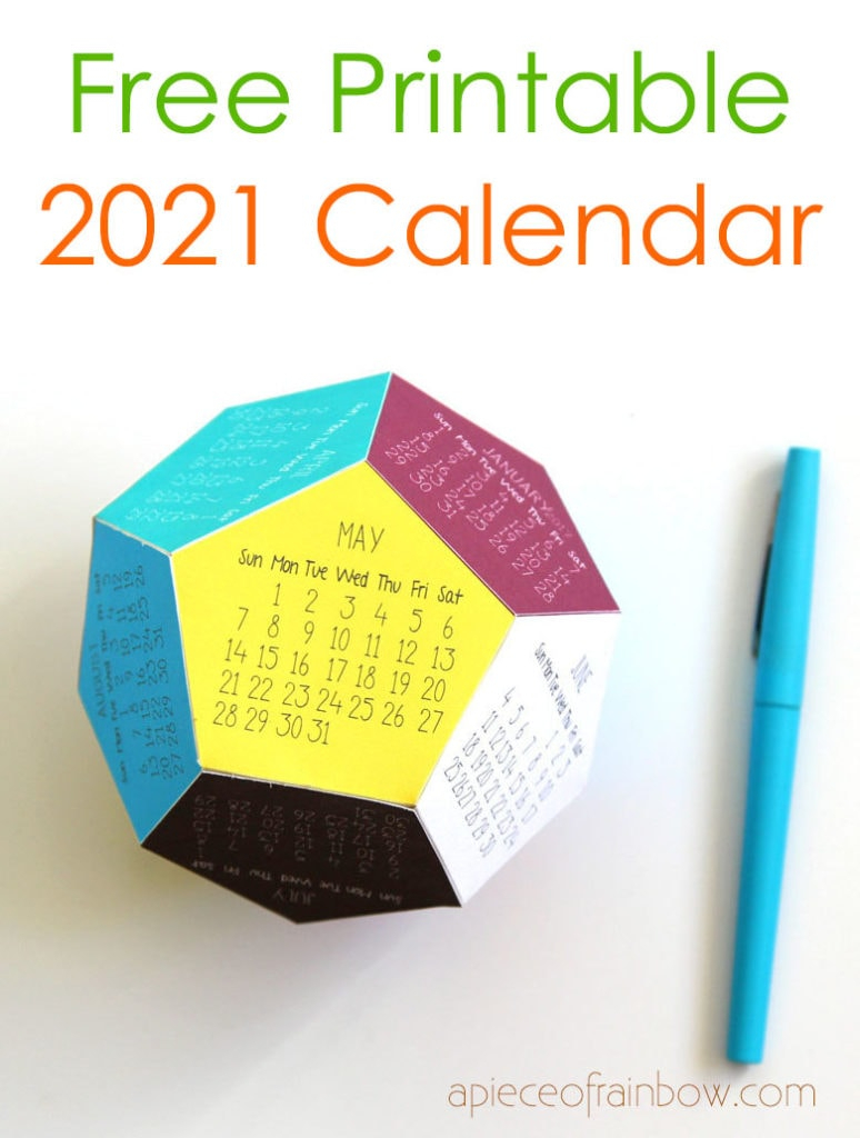Diy 3D 2021 Calendar! (Free Printable Template) - A Piece Of