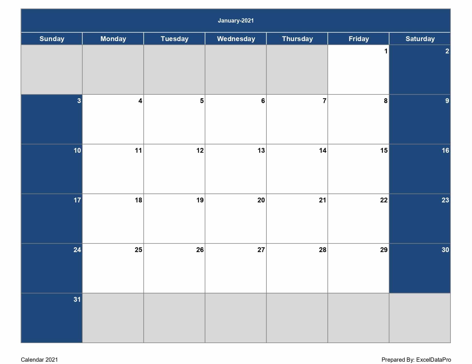 Download 2021 Monthly Calendar (Sun Start) Excel Template