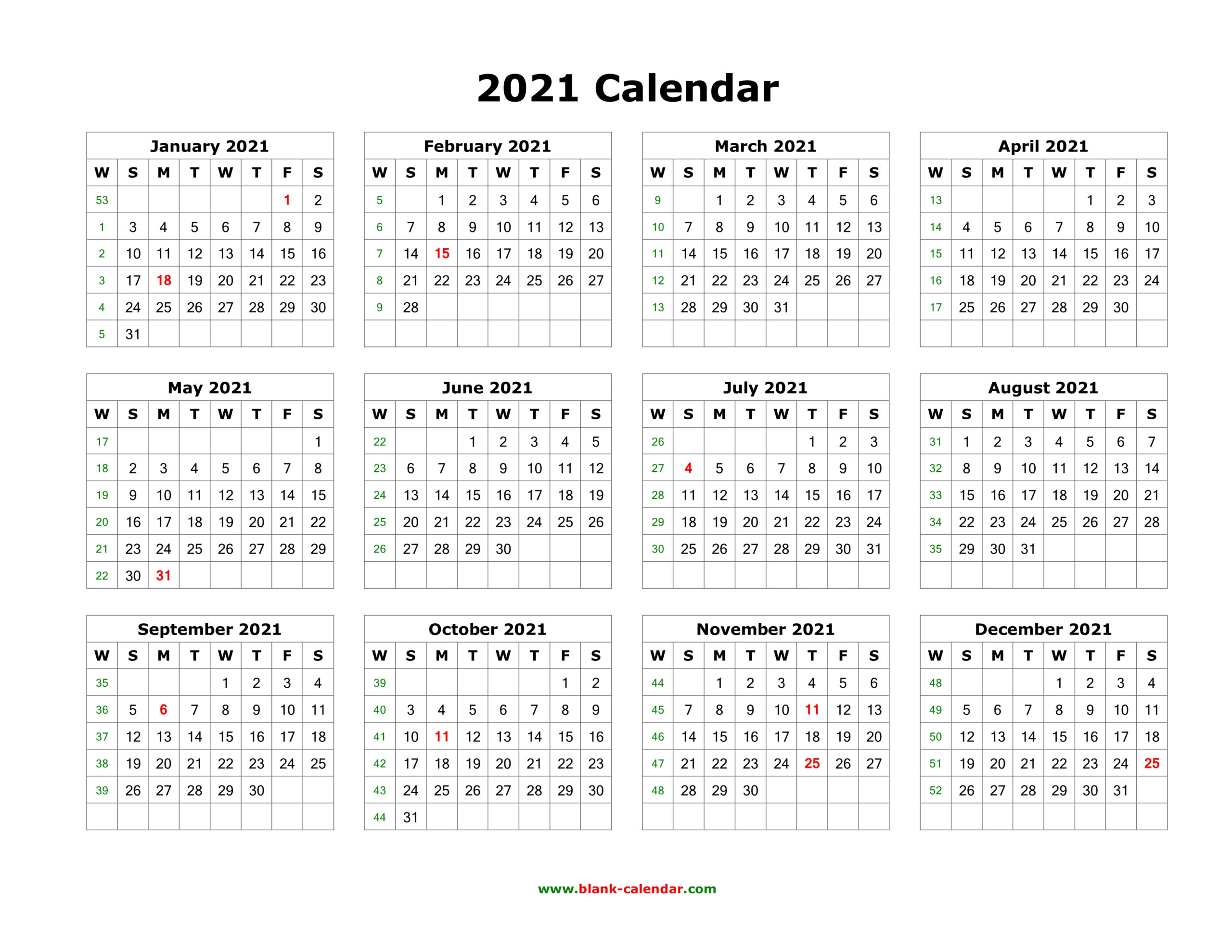 Download Blank Calendar 2021 (12 Months On One Page, Horizontal)