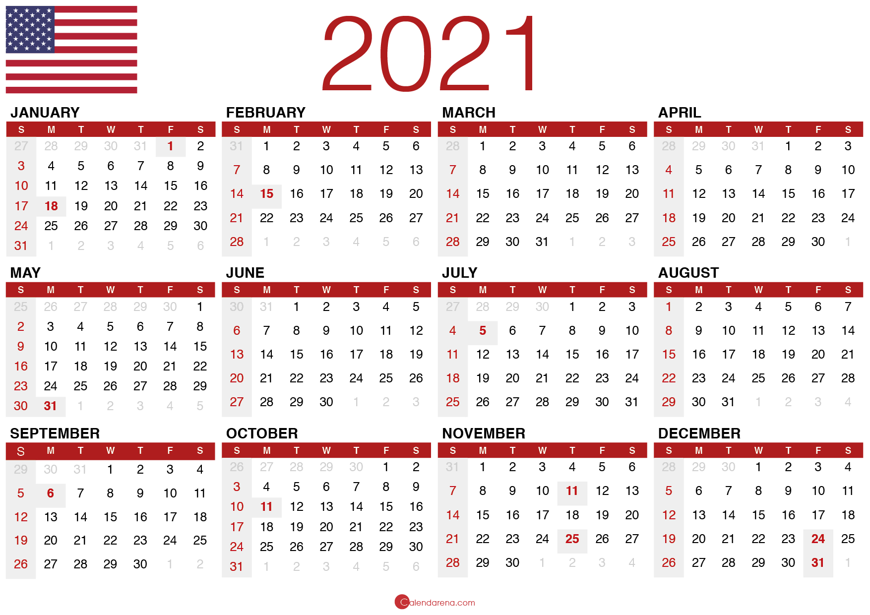 Download Free Printable Calendar 2021 🇺🇸 - Calendarena