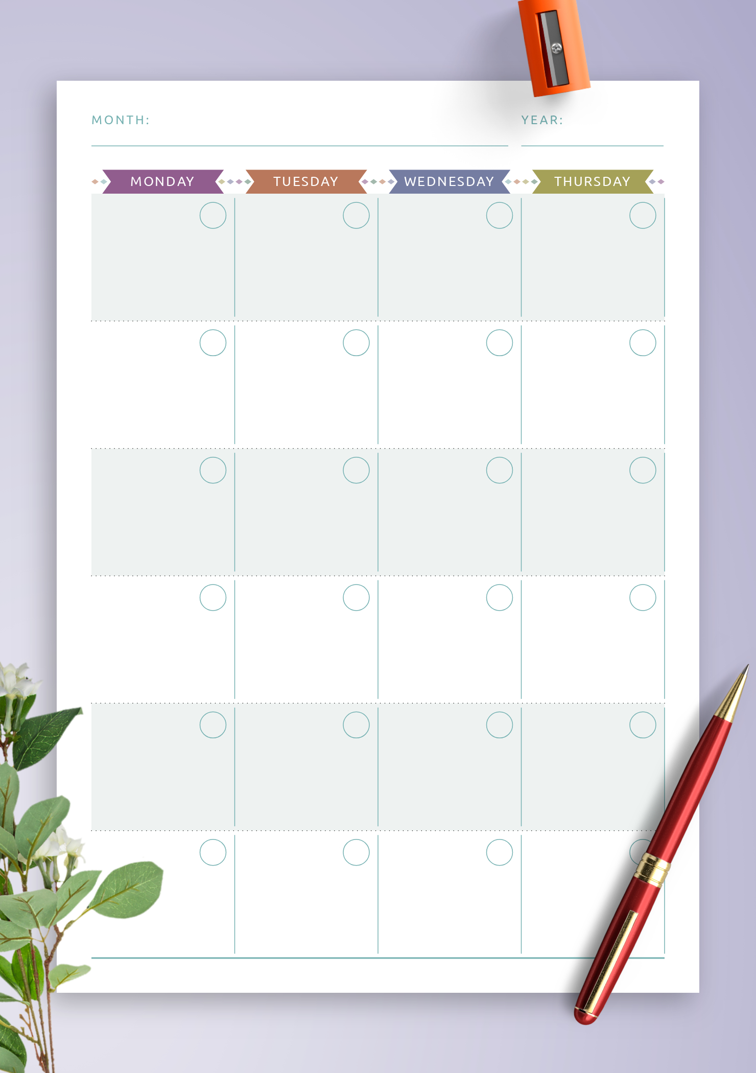 Download Printable Monthly Calendar Planner Undated - Casual