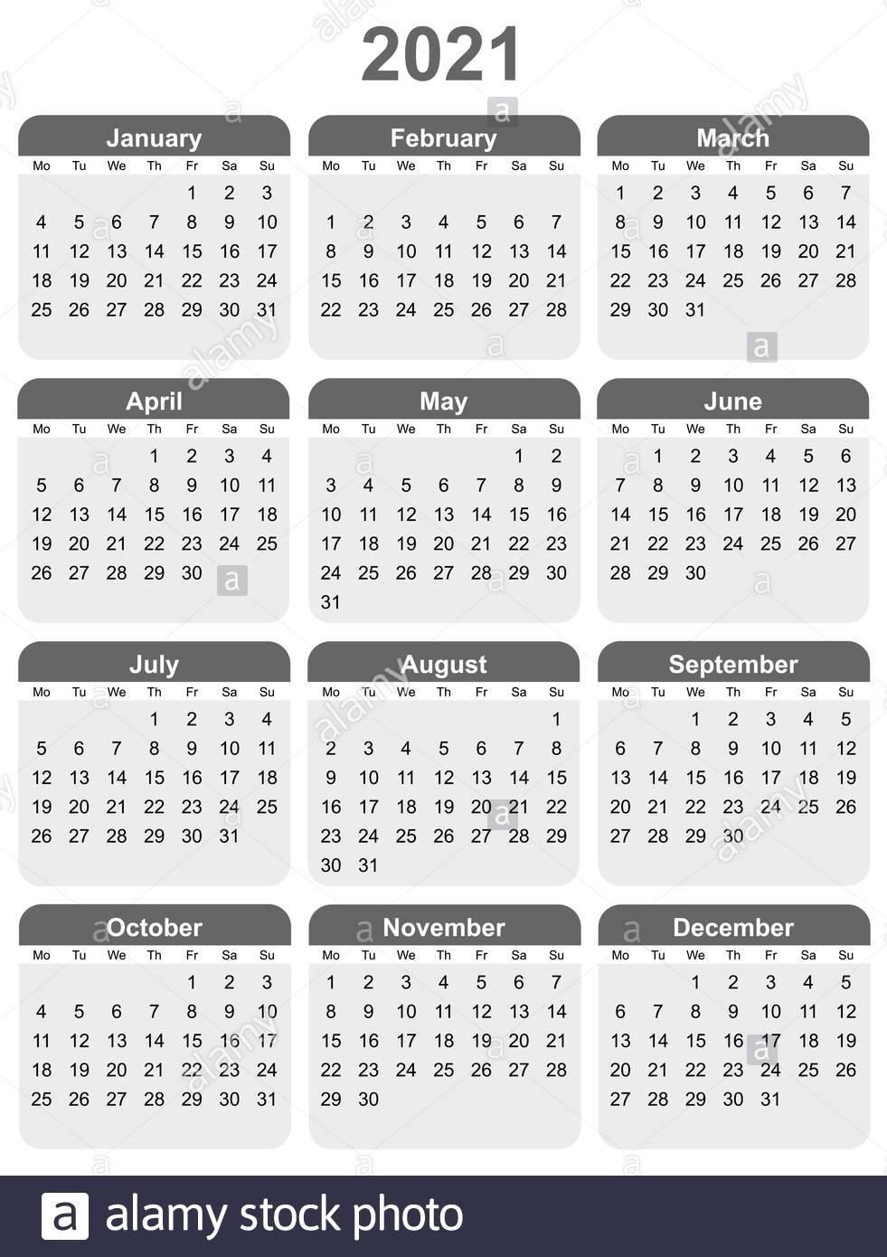 Editable Vector Calendar For Year 2021 Mondays First