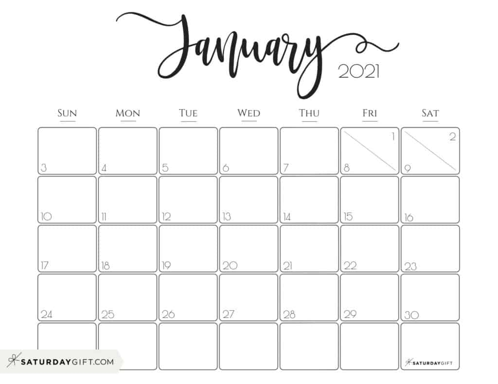 Elegant 2021 Calendar By Saturdaygift - Pretty Printable