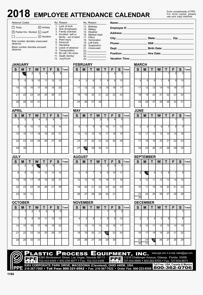 Employee Attendance Calendar Excel - 2020 Employee