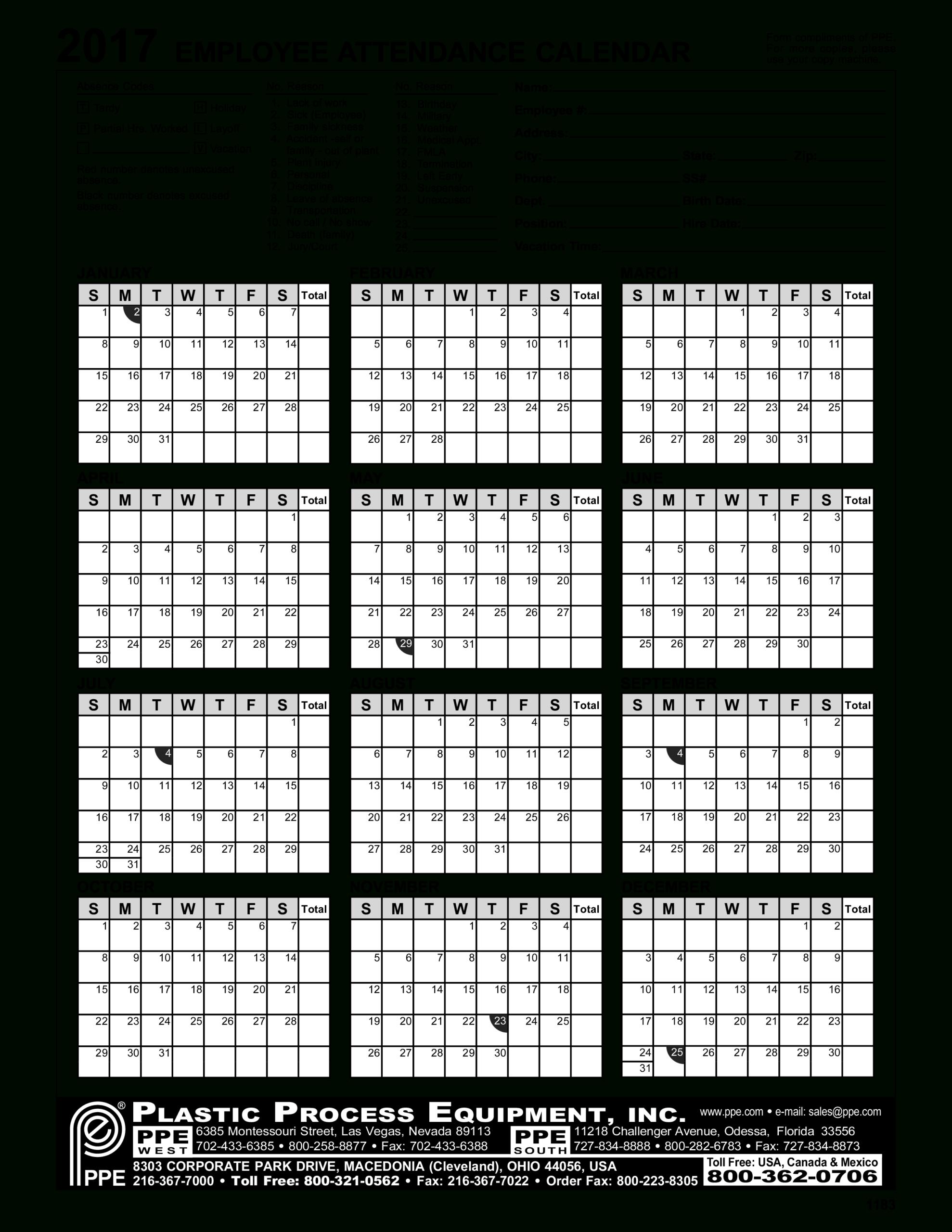 Employee Attendance Calendar | Templates At