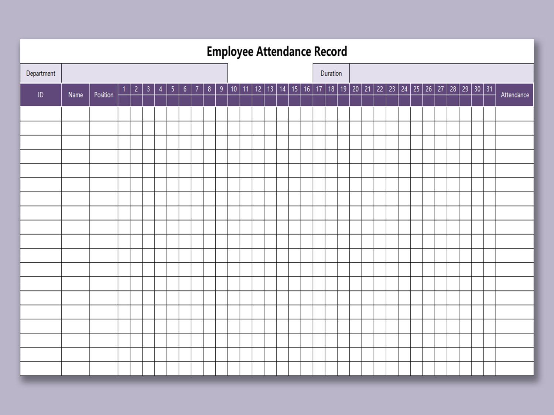 Employee Attendance Sheet | Attendance Tracker | Calendar Wine