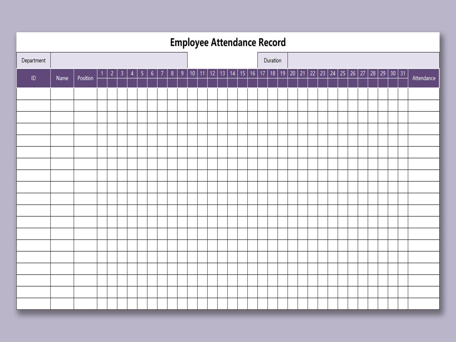 Employee Attendance Tracker Excel Template ~ Addictionary