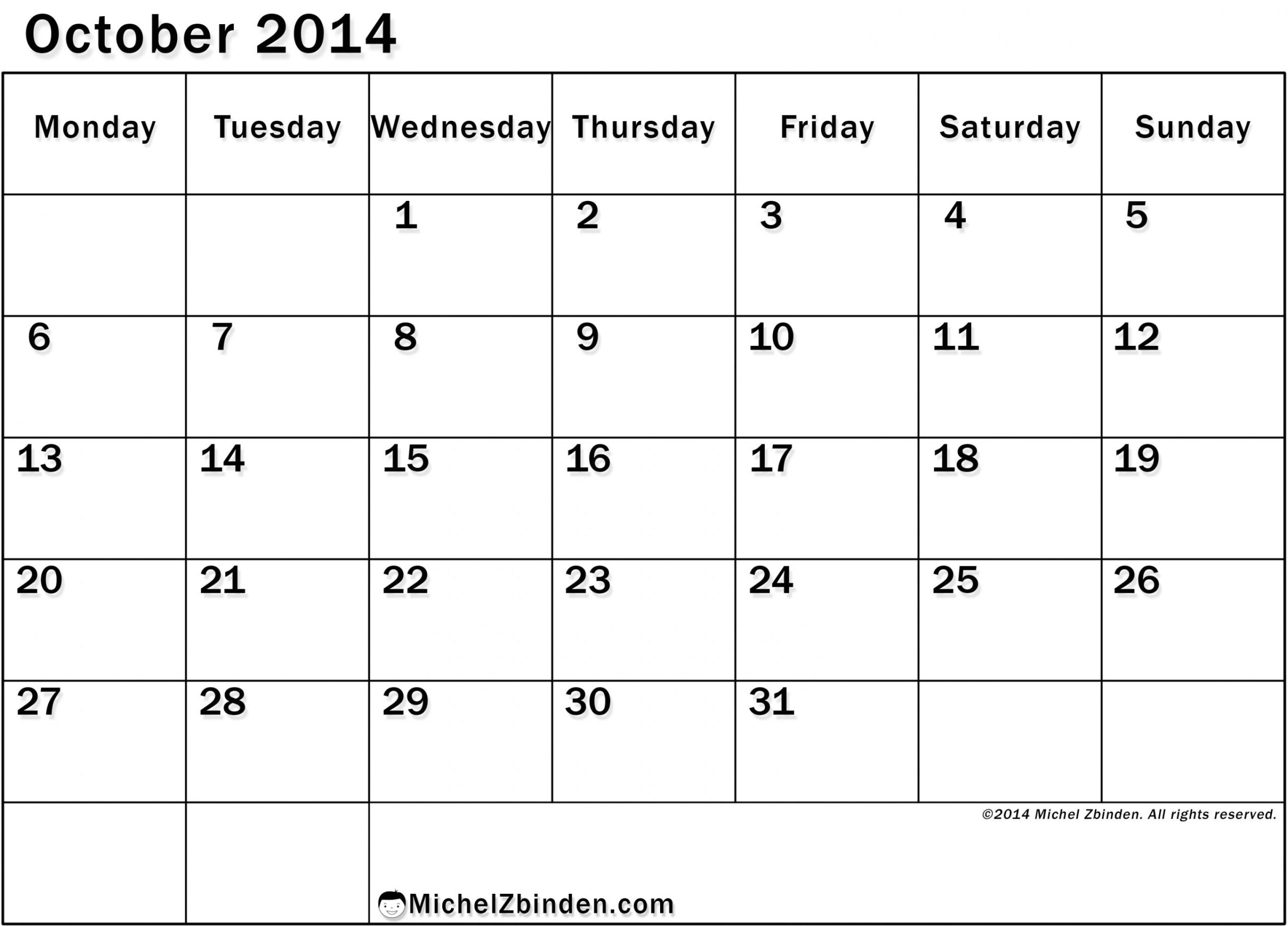 Extraordinary Blank Calendar Large Squares | Printable
