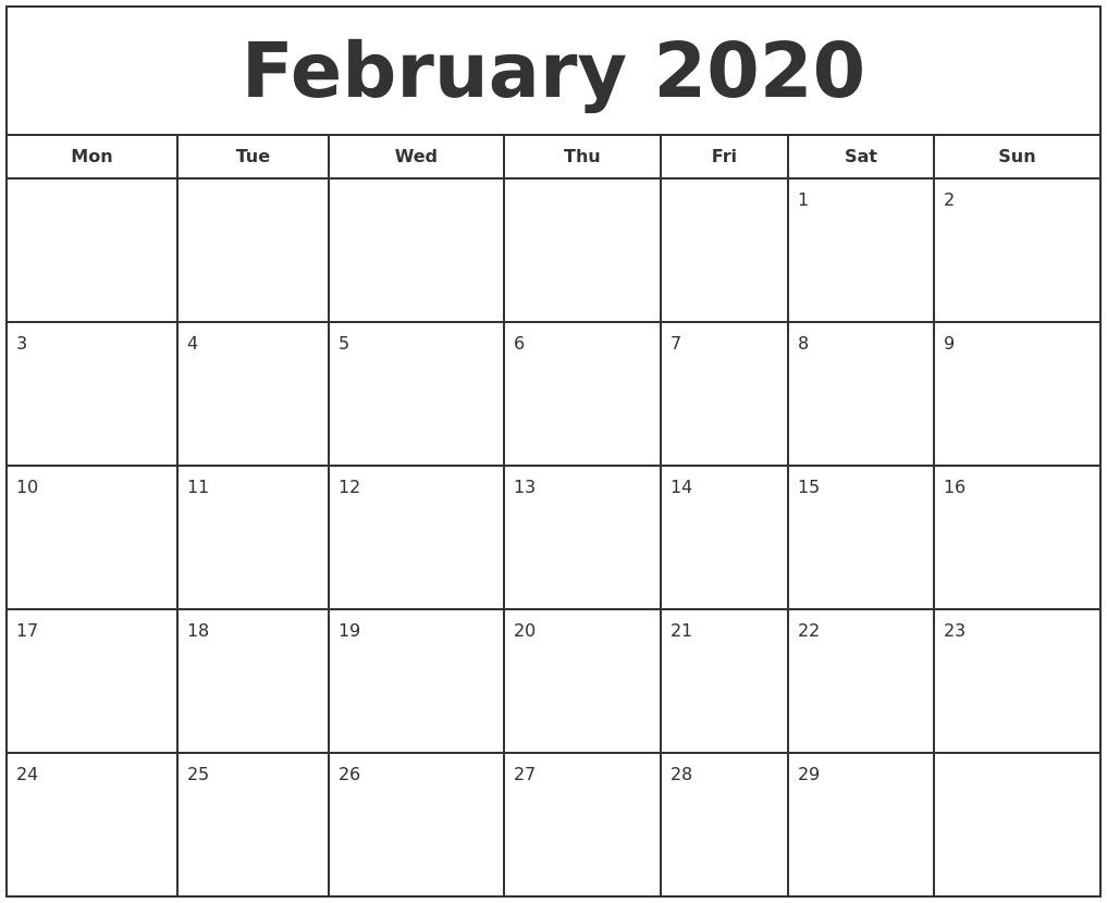 February 2020 Print Free Calendar 2020 Calendar Style 1 Free