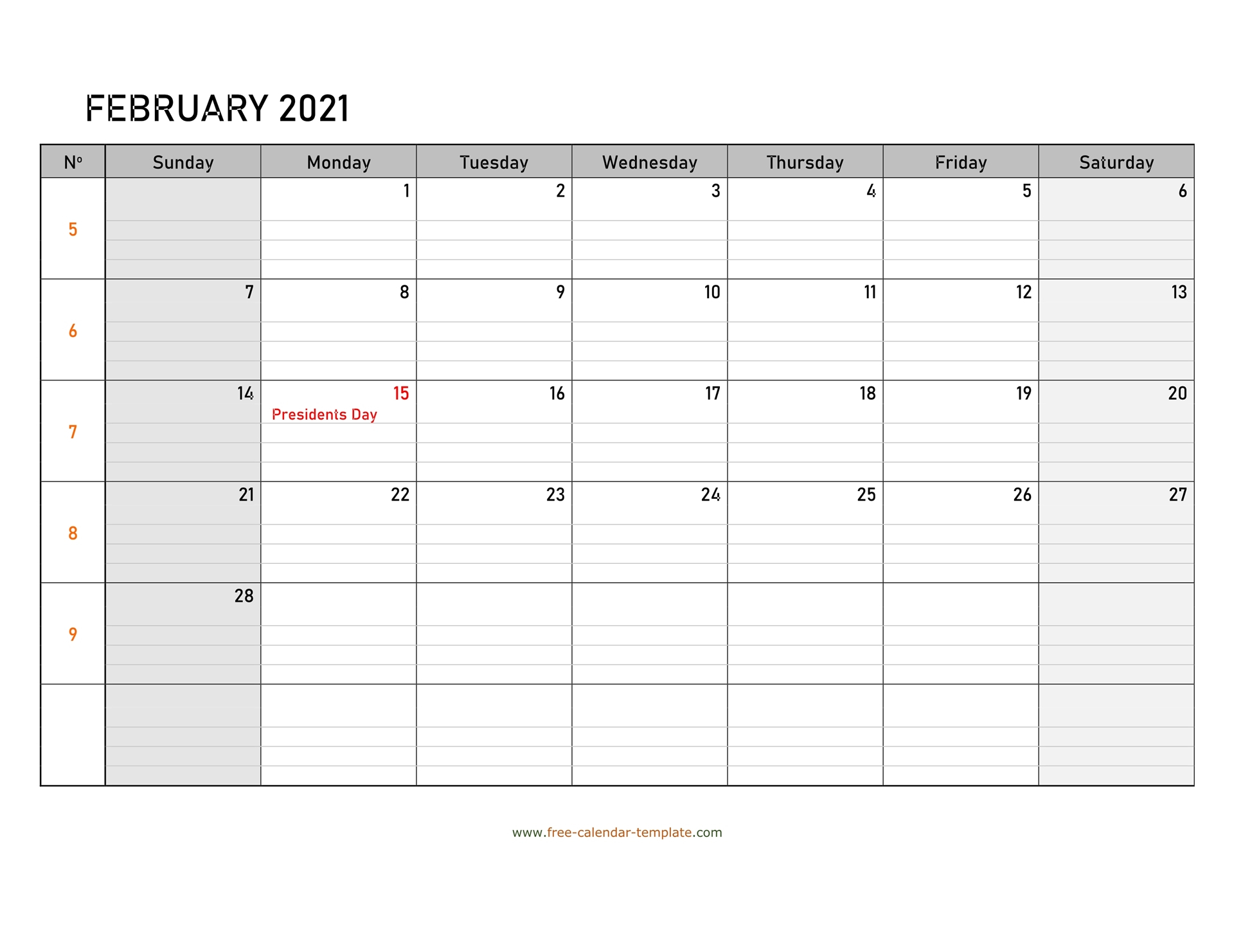 Free Calendar 2021 Printable With Grid Lines