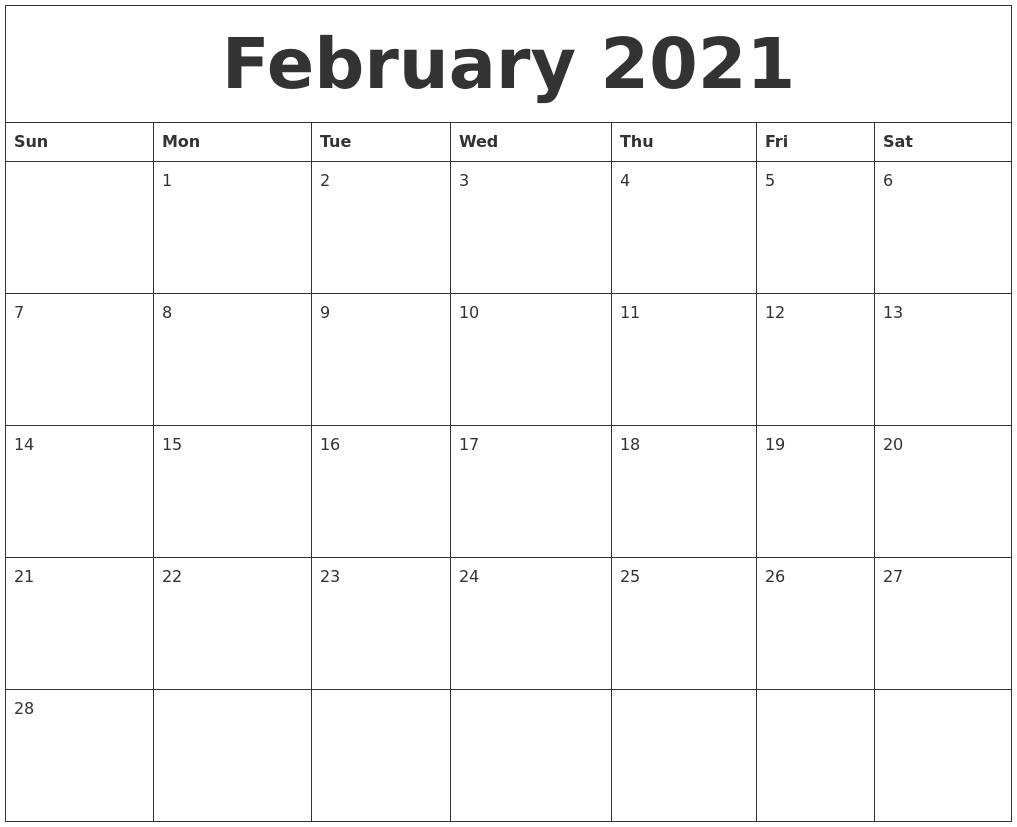 February 2021 Custom Printable Calendar