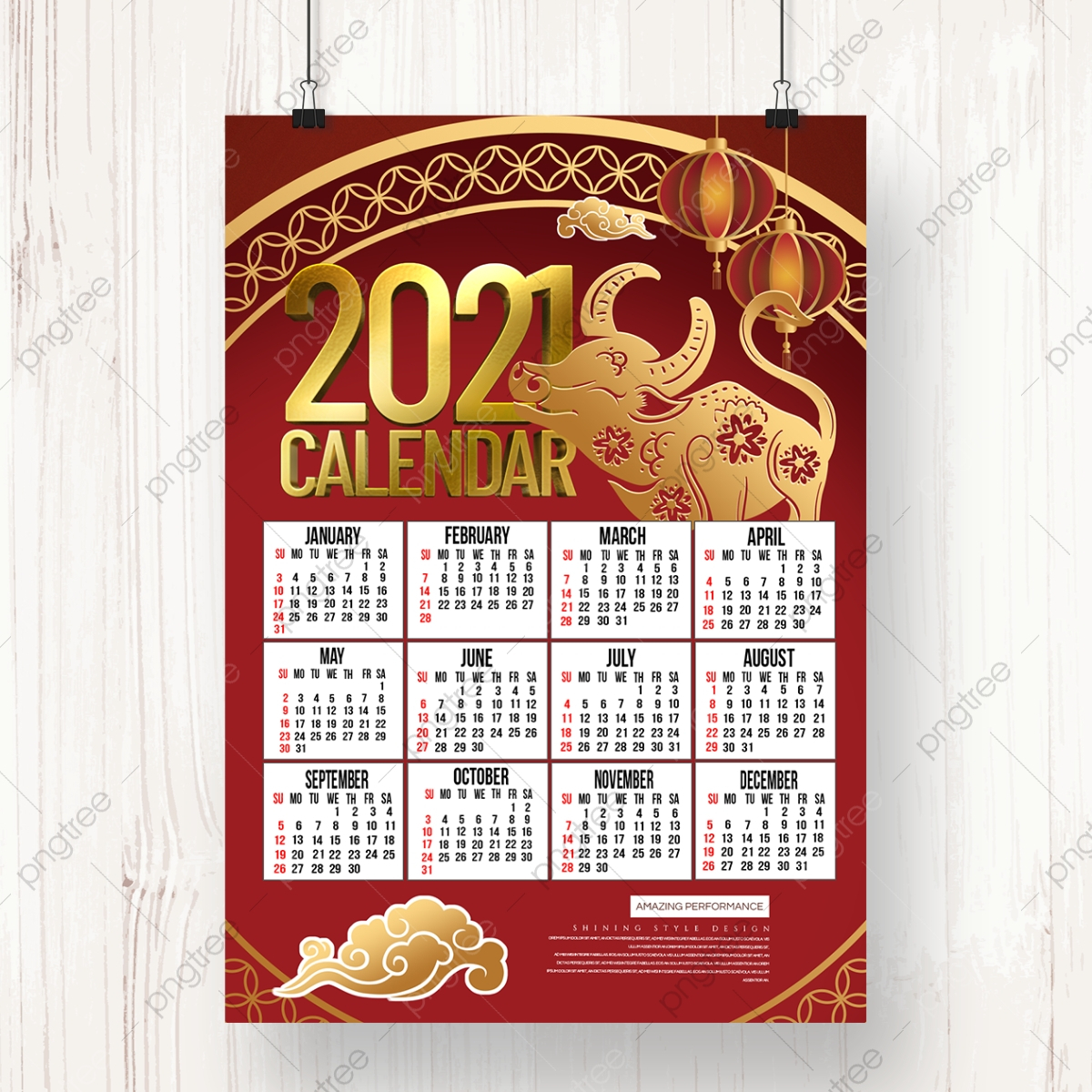 Festive 2021 New Year Chinese Style Calendar Template