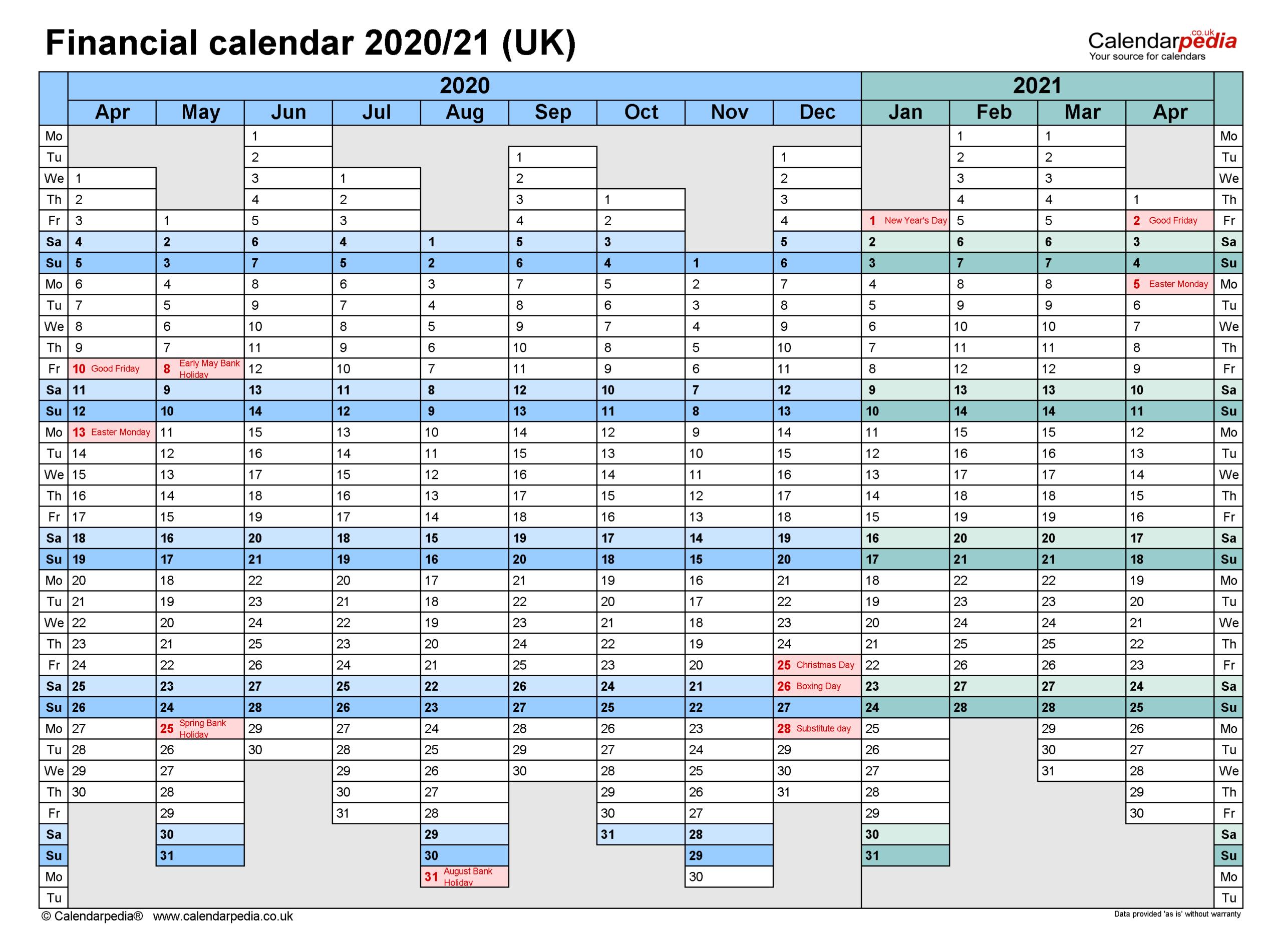 Financial Calendars 2020/21 Uk In Pdf Format