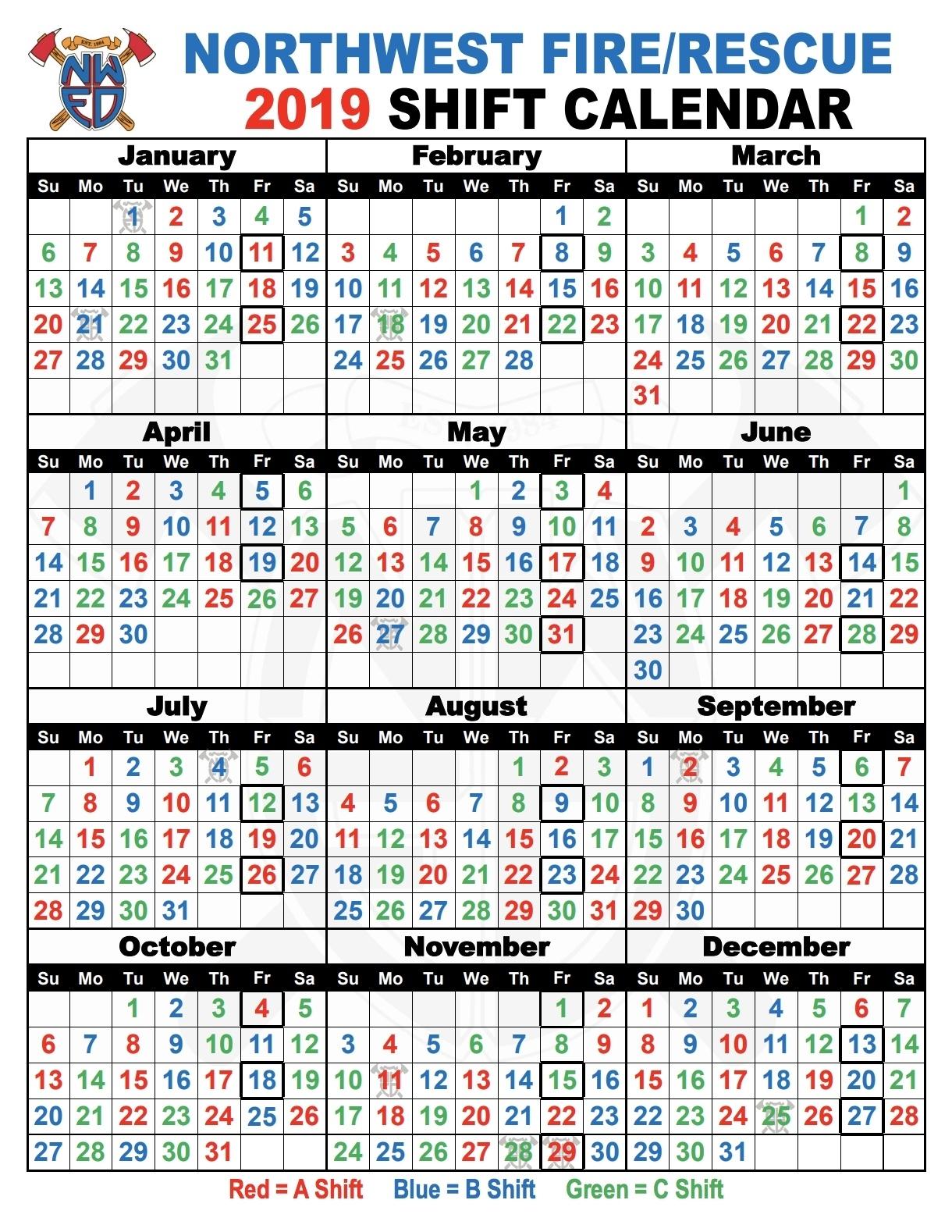 Fire Dept Shift Calendar 24/48 - Calendar Inspiration Design
