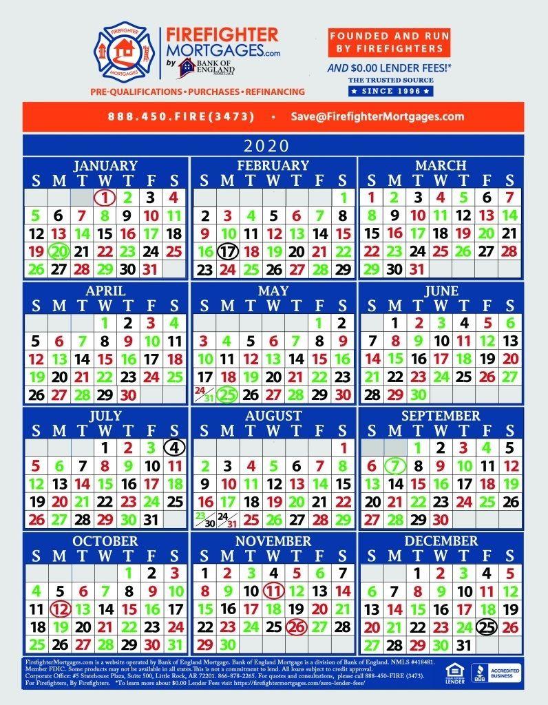 Fire Dept Shift Calendar 24/48 | Marketing Calendar Template
