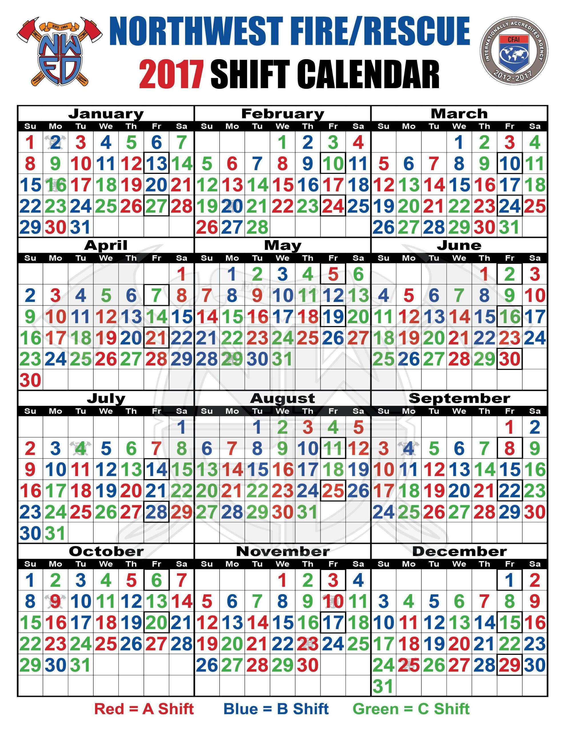Firefighter Shift Calendar Template Di 2020