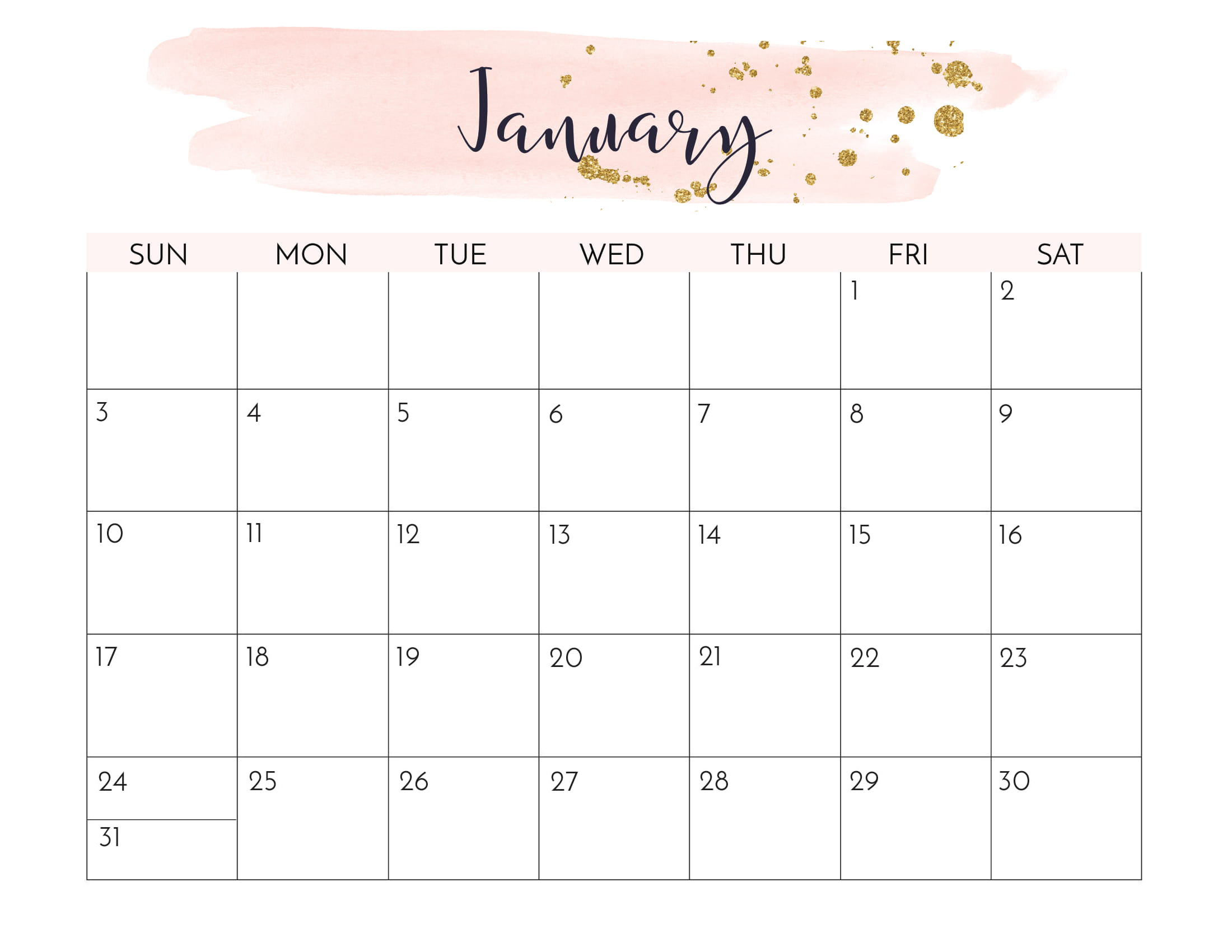 Floral January 2021 Calendar Templates - Printable 2020