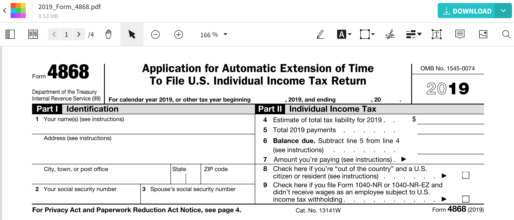 Form 4868 - Fill Irs Extension Form Online For Free | Smallpdf