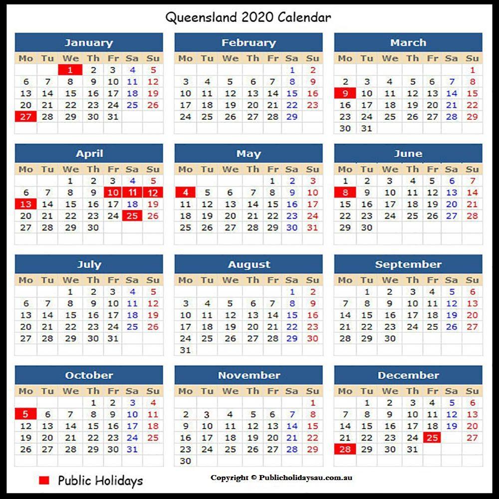 Free 2020 Qld Public Holidays | School Holiday Calendar