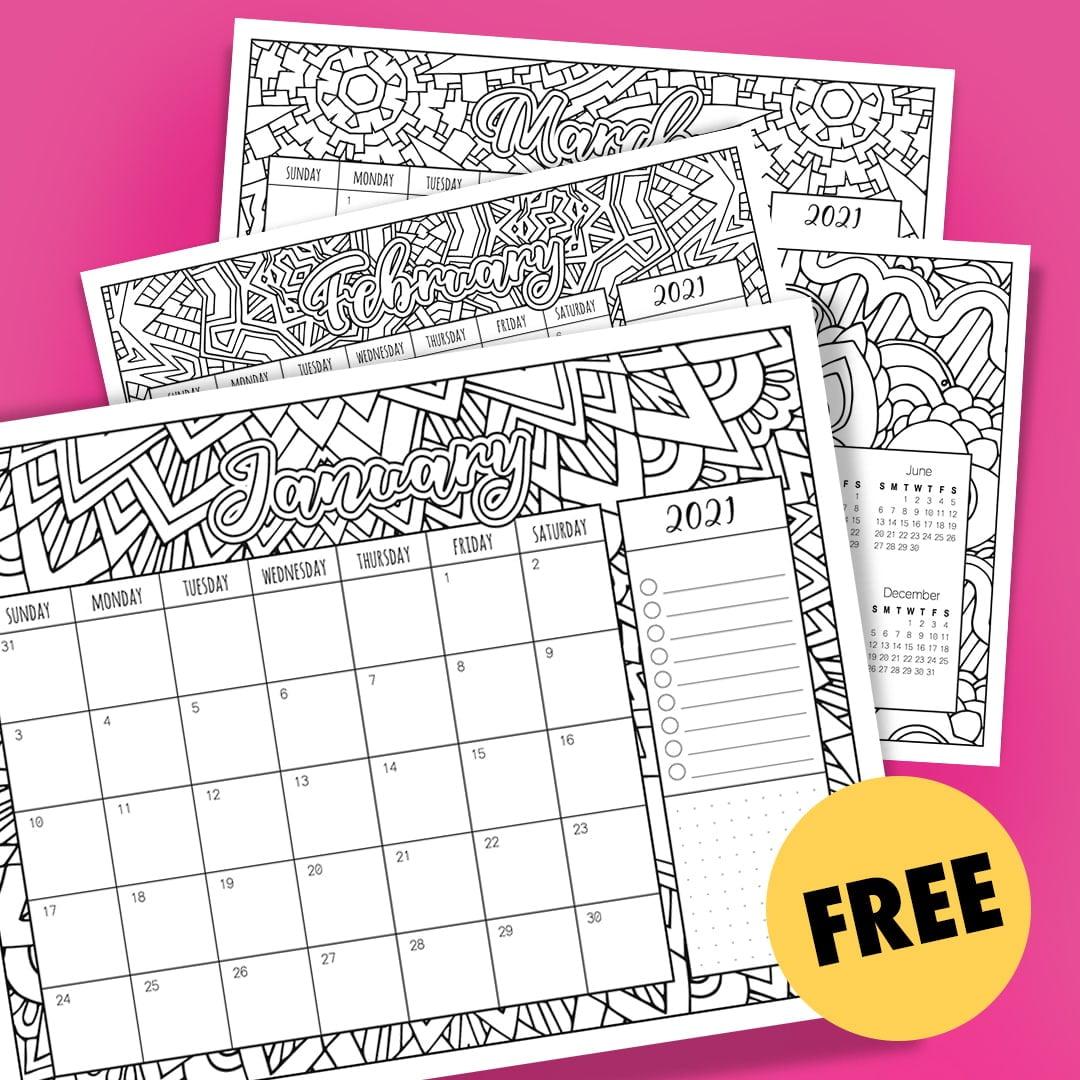 Free 2021 Printable Coloring Calendar - By Sarah Renae Clark