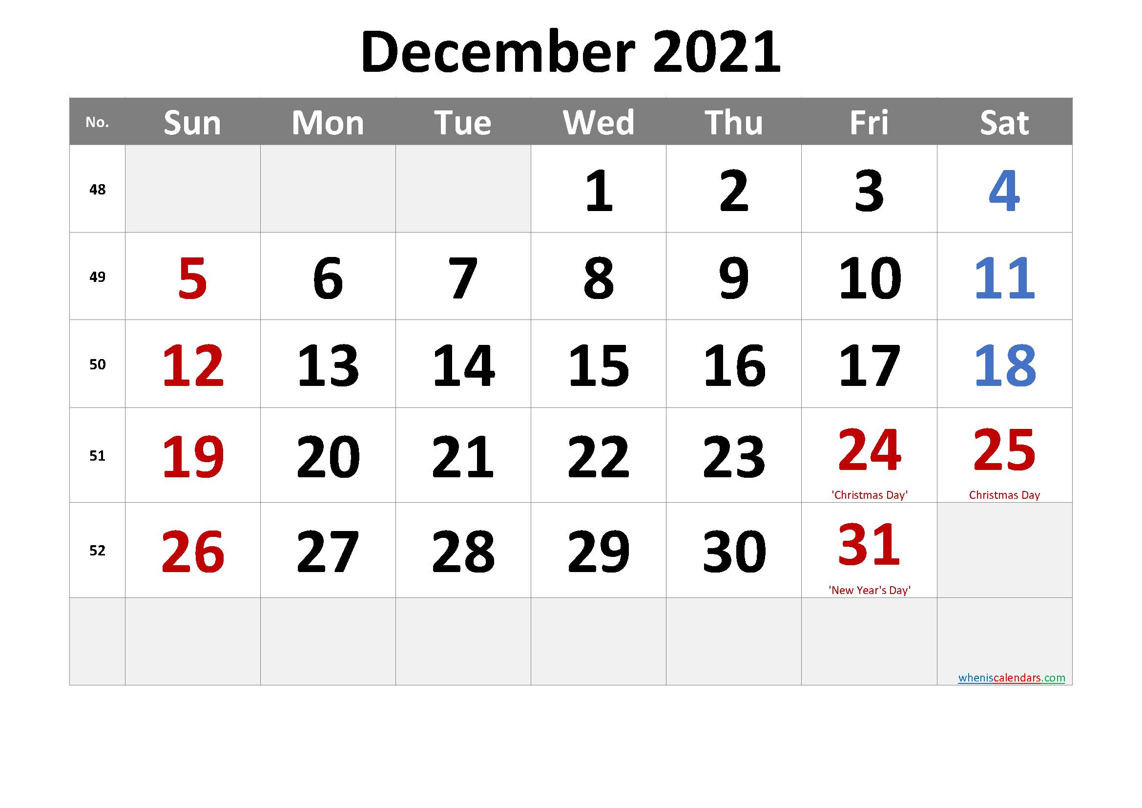 Free December 2021 Monthly Calendar Pdf-Template No.cr21M36