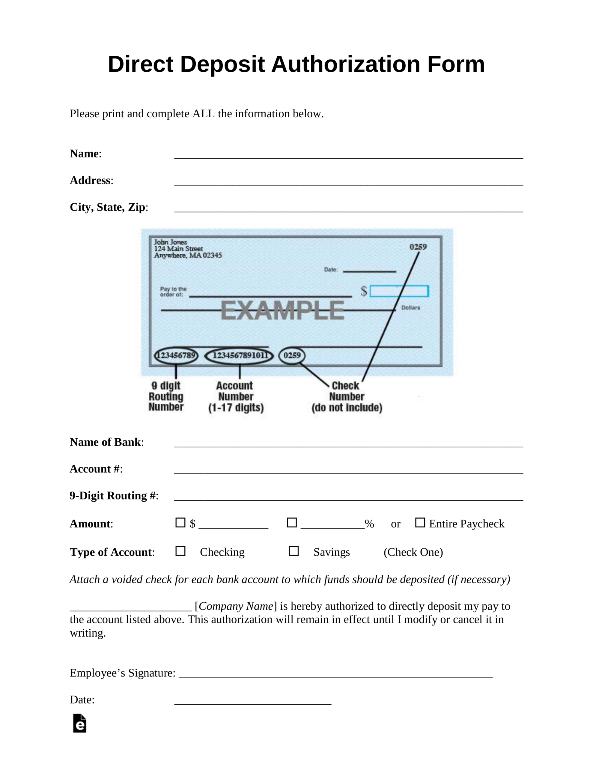 Free Direct Deposit Authorization Forms - Pdf | Word – Eforms