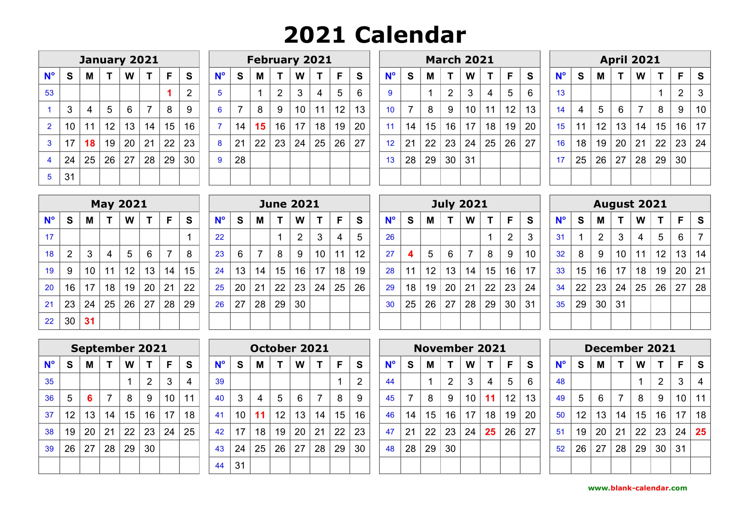 Free Download Printable Calendar 2021 In One Page, Clean Design.