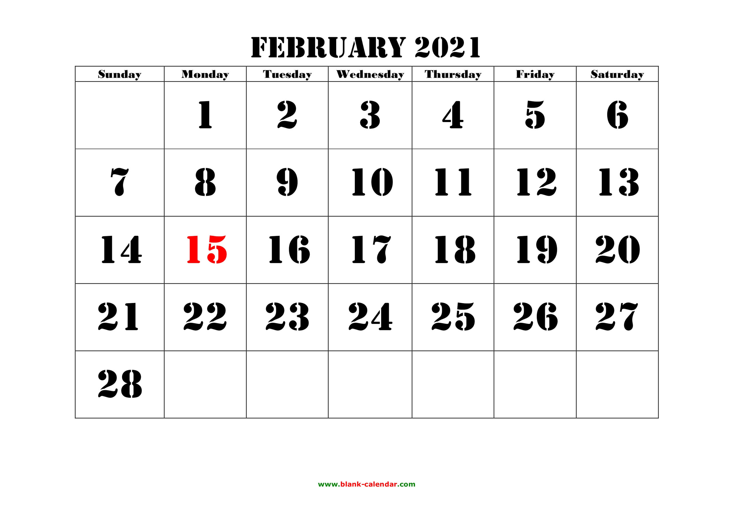 Free Download Printable February 2021 Calendar, Large Font