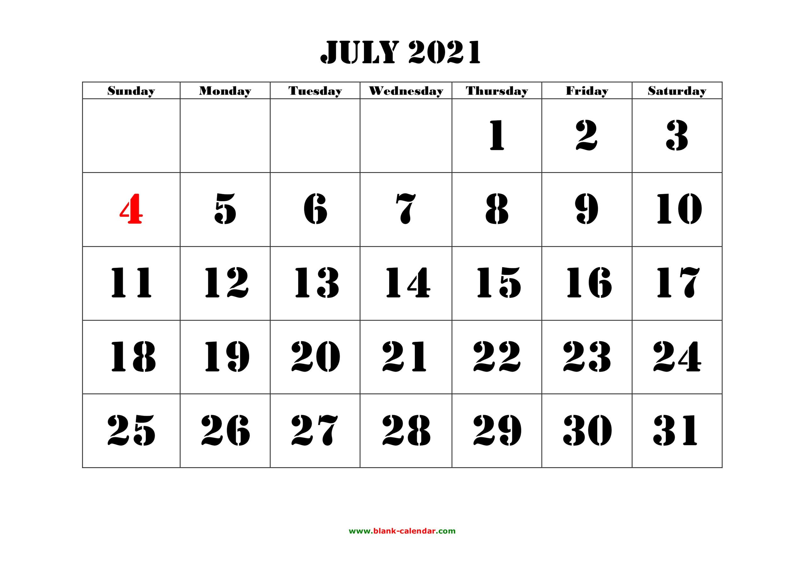 Free Download Printable July 2021 Calendar, Large Font