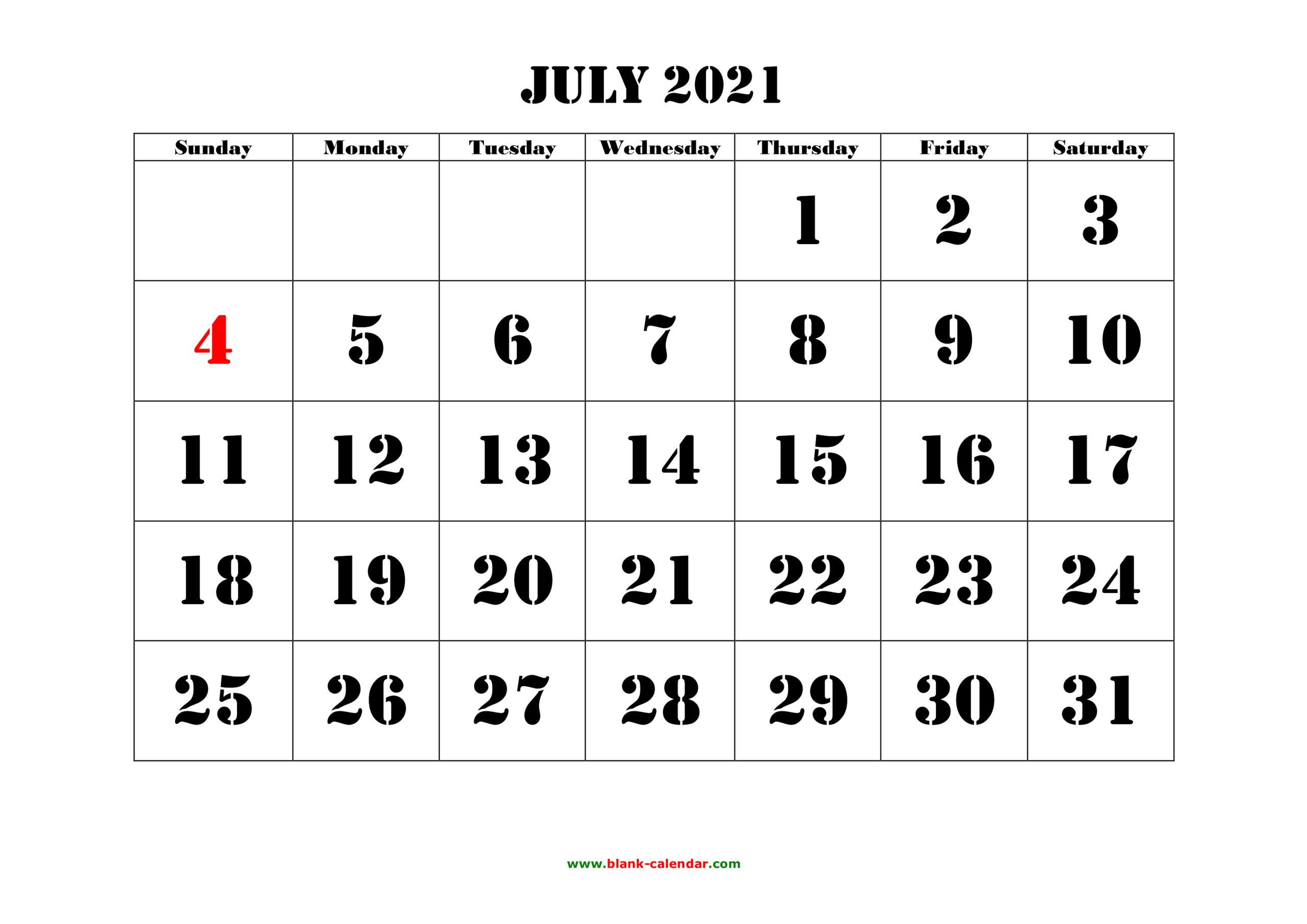 Free Download Printable July 2021 Calendar, Large Font