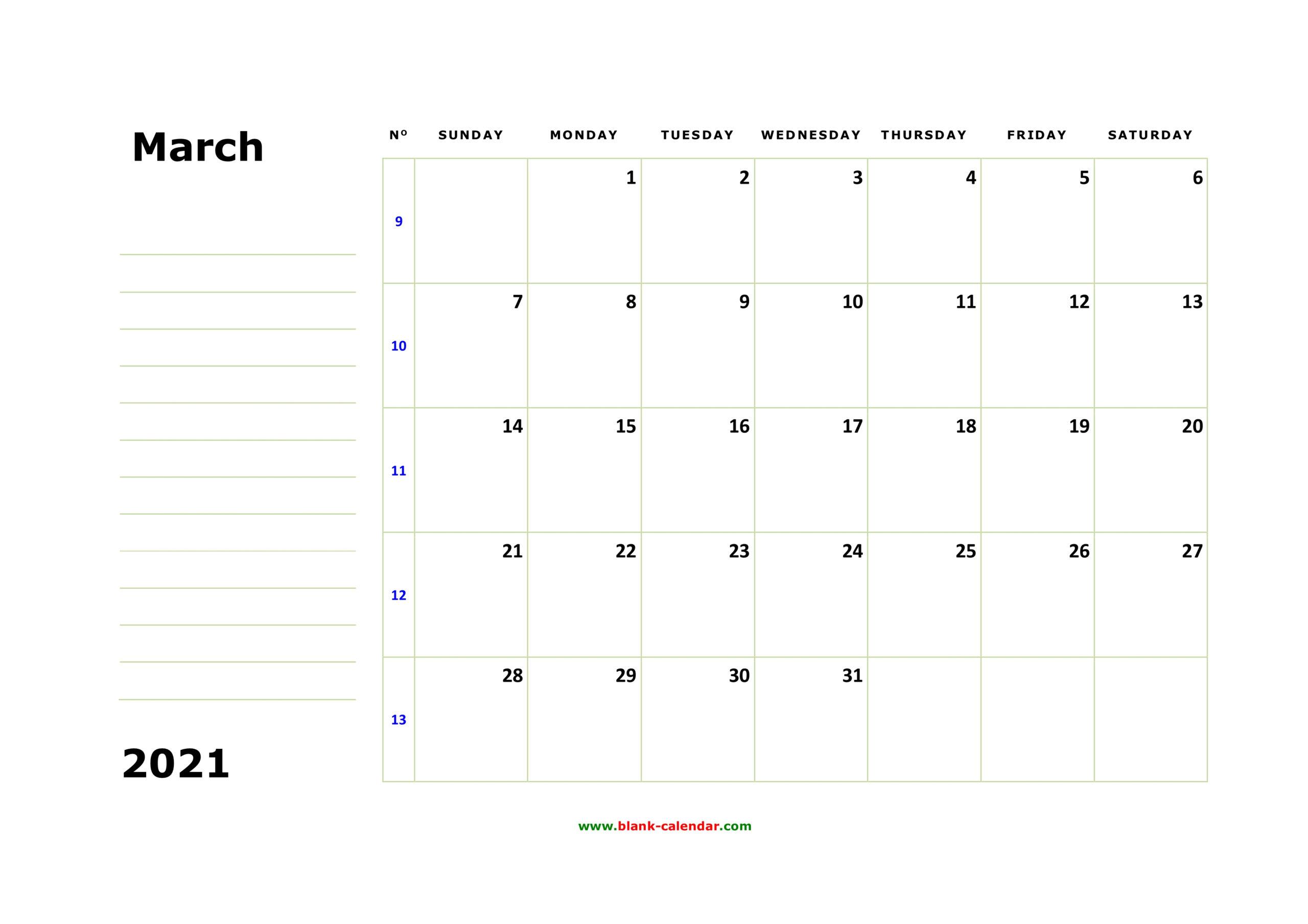 Free Download Printable March 2021 Calendar, Large Box