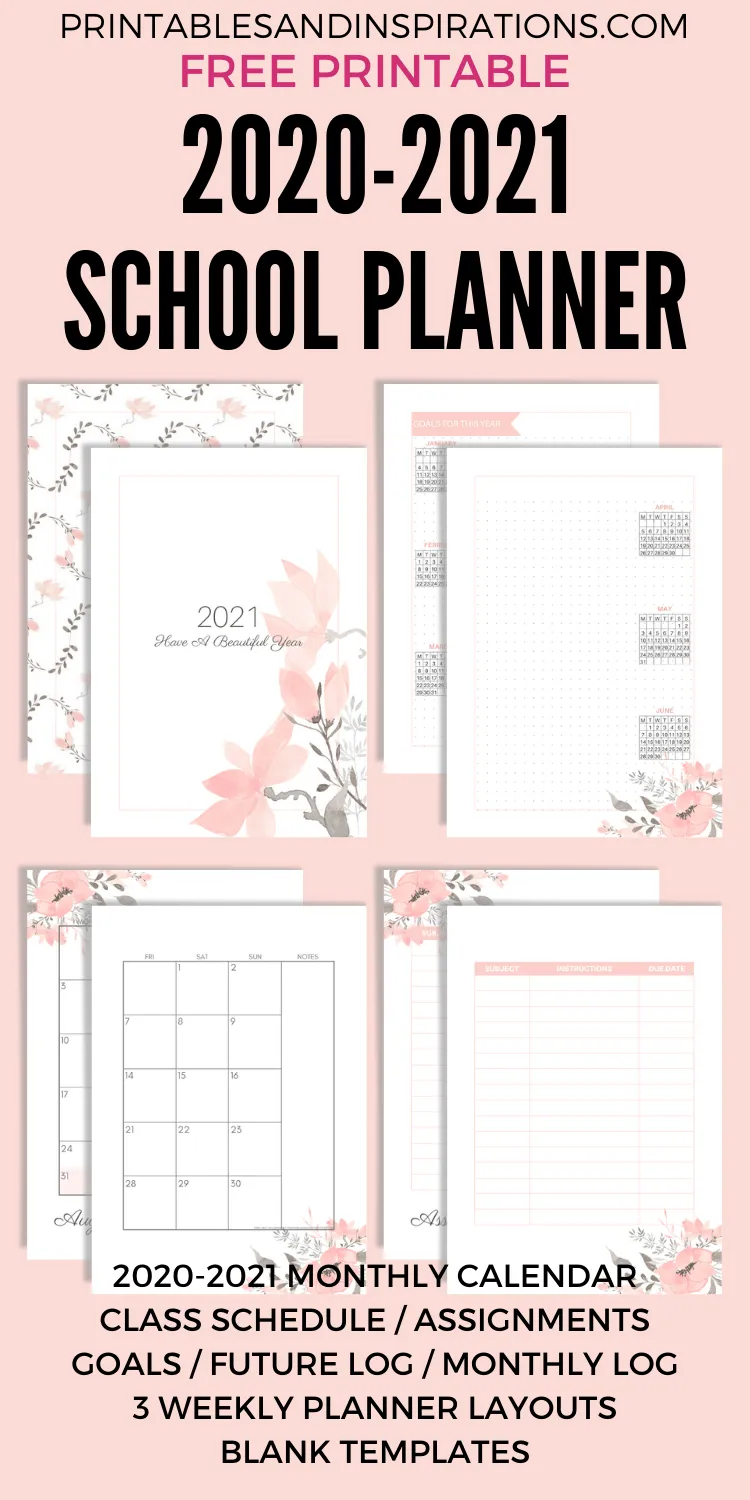 Free Printable 2020 - 2021 School Planner (Updated