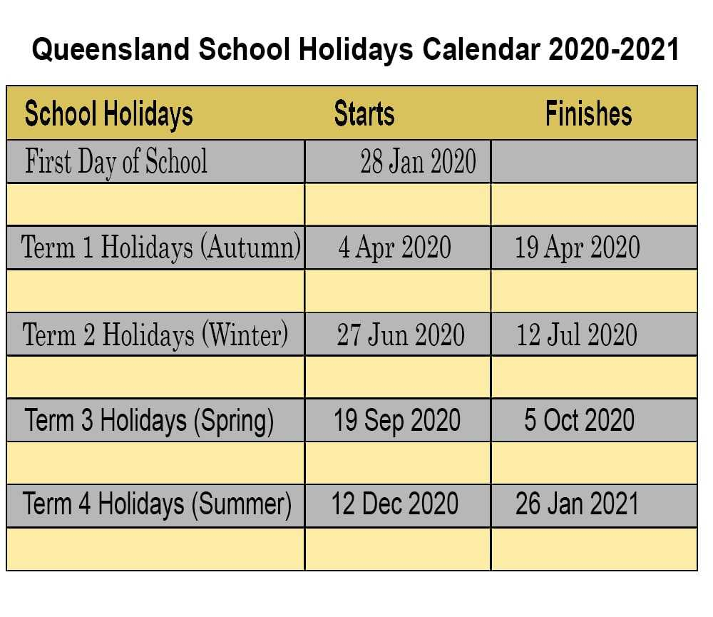 Free Printable 2020-21 Qld School Holidays Calendar