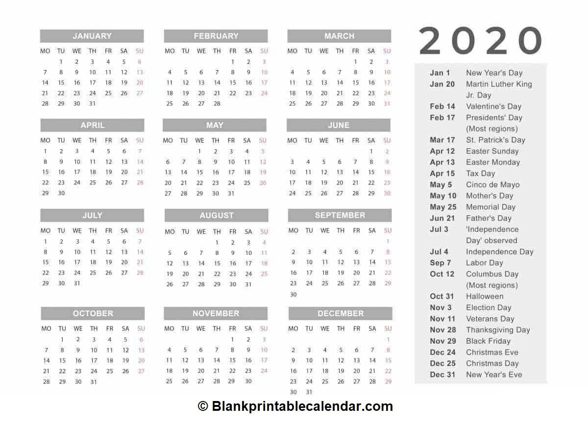 Free Printable 2020 Calendar - Blank Monthly And Yearly