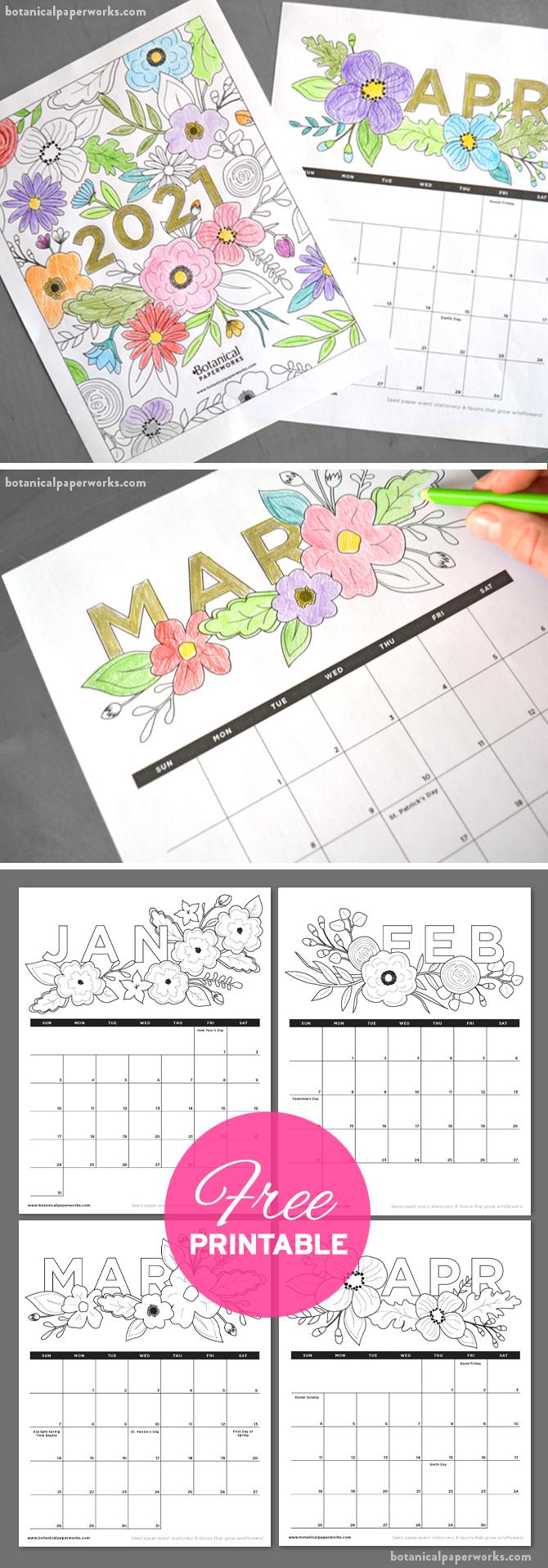 Free Printable 2021 Calendars   Botanical Paperworks