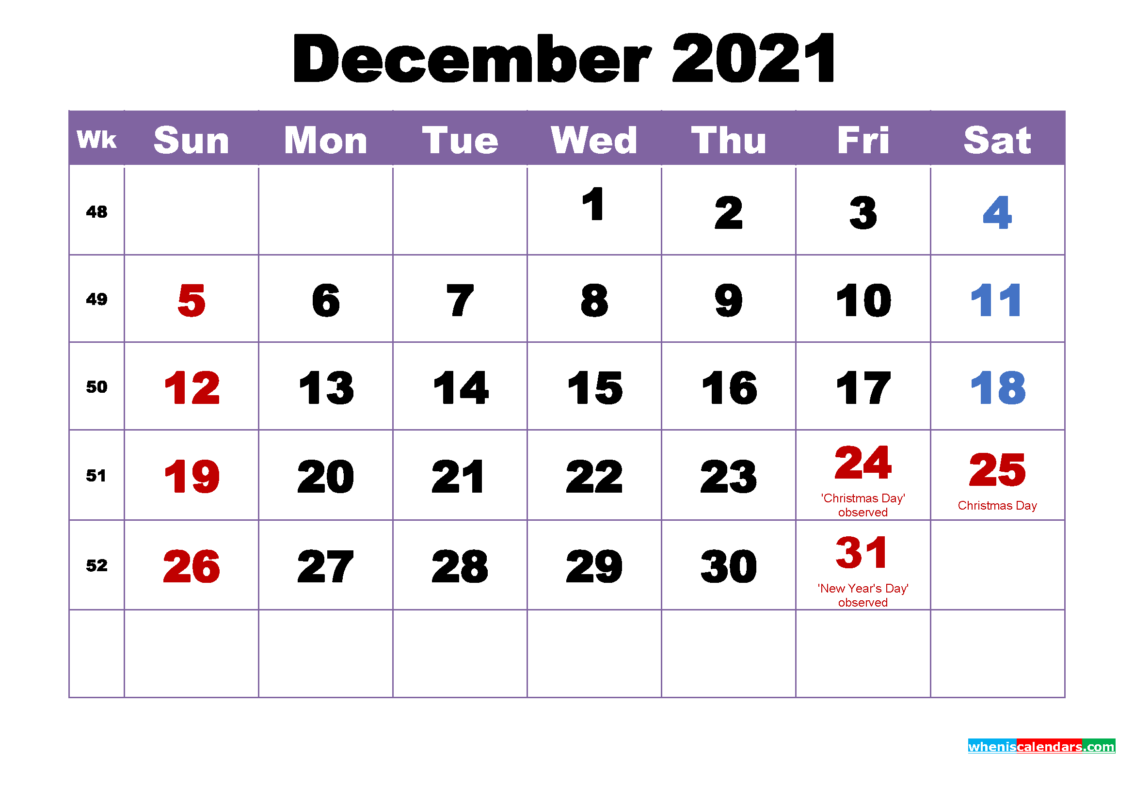 Free Printable 2021 Monthly Calendar With Holidays December