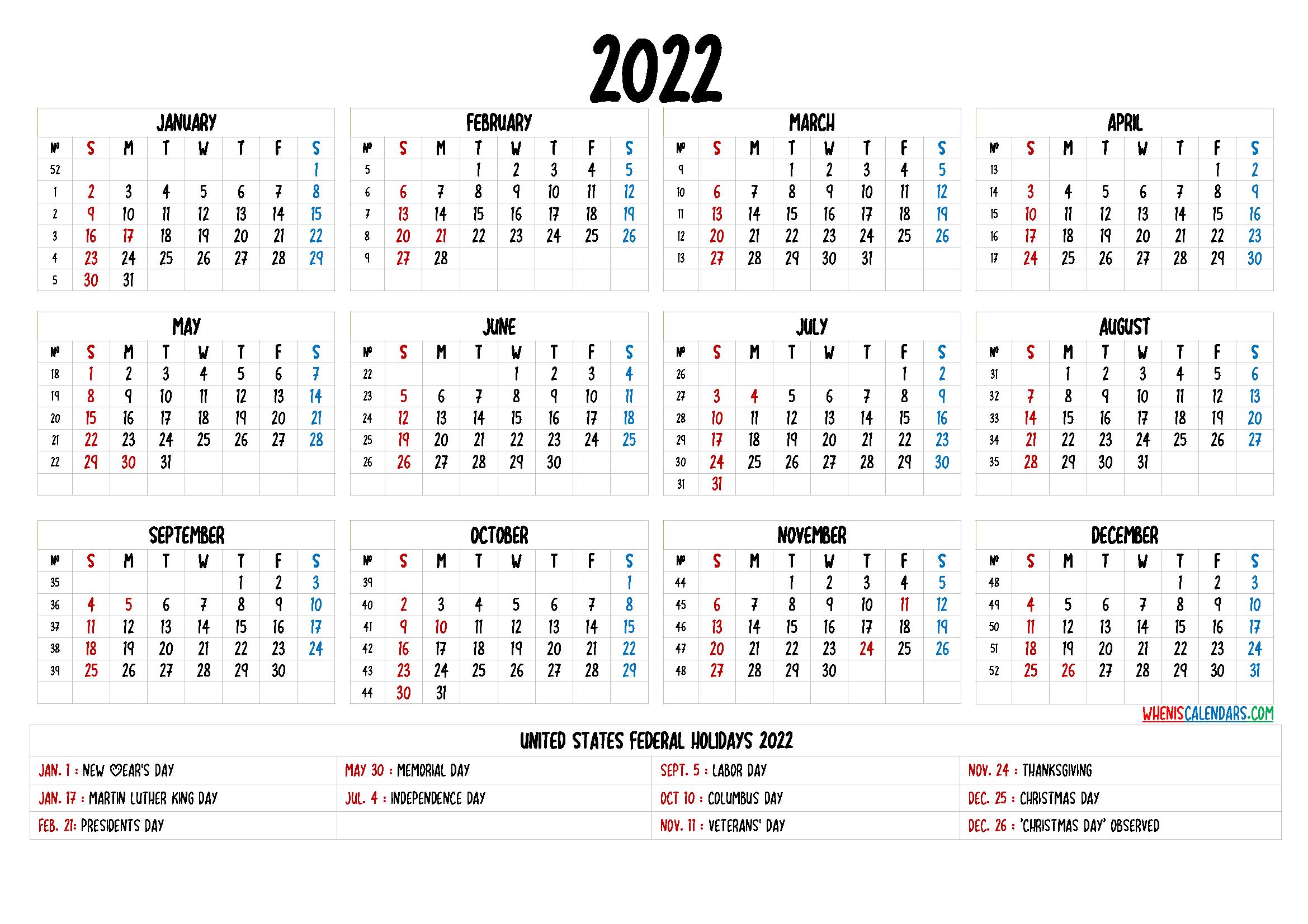 Free Printable 2022 Calendar – 6 Templates | Printable