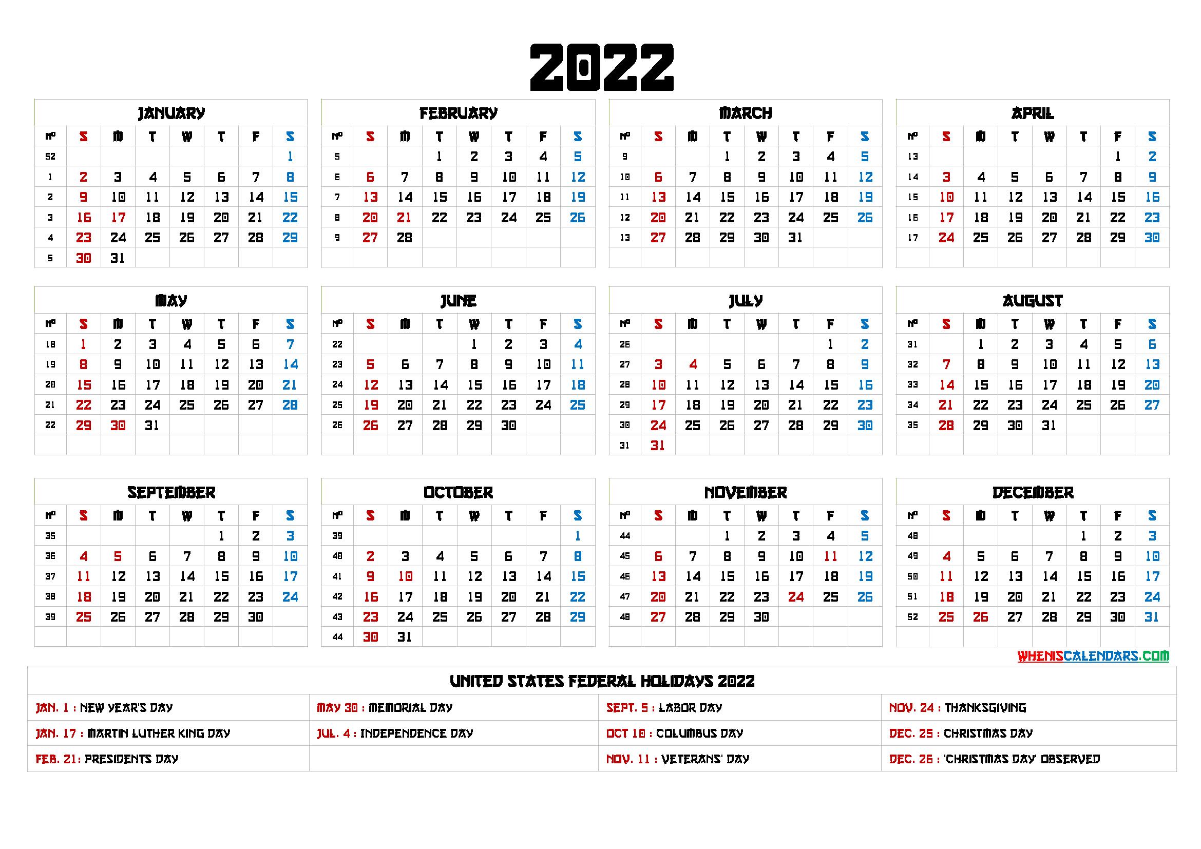 Free Printable 2022 Calendar Templates – 6 Templates In 2021