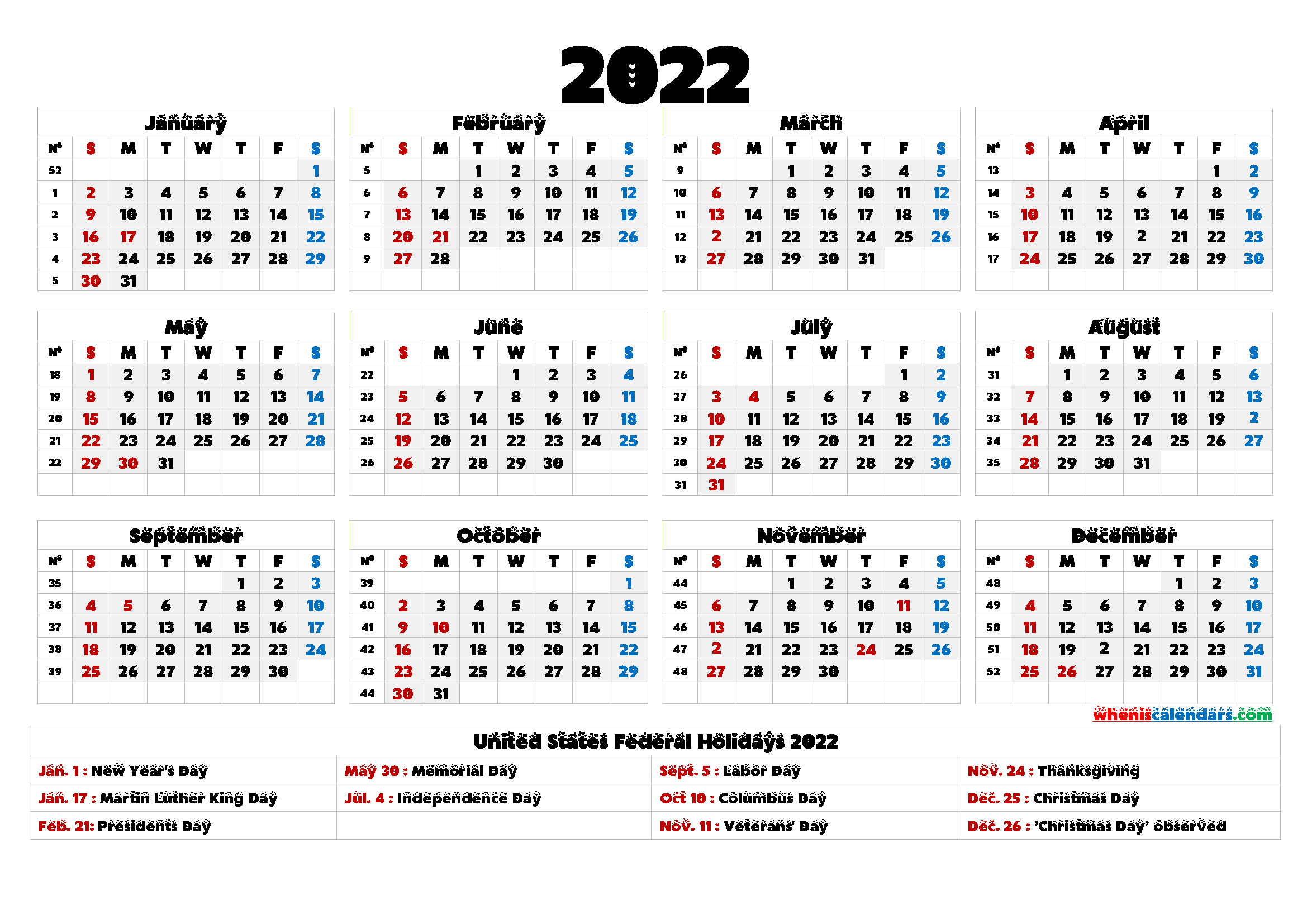 Free Printable 2022 Calendar Templates – 6 Templates