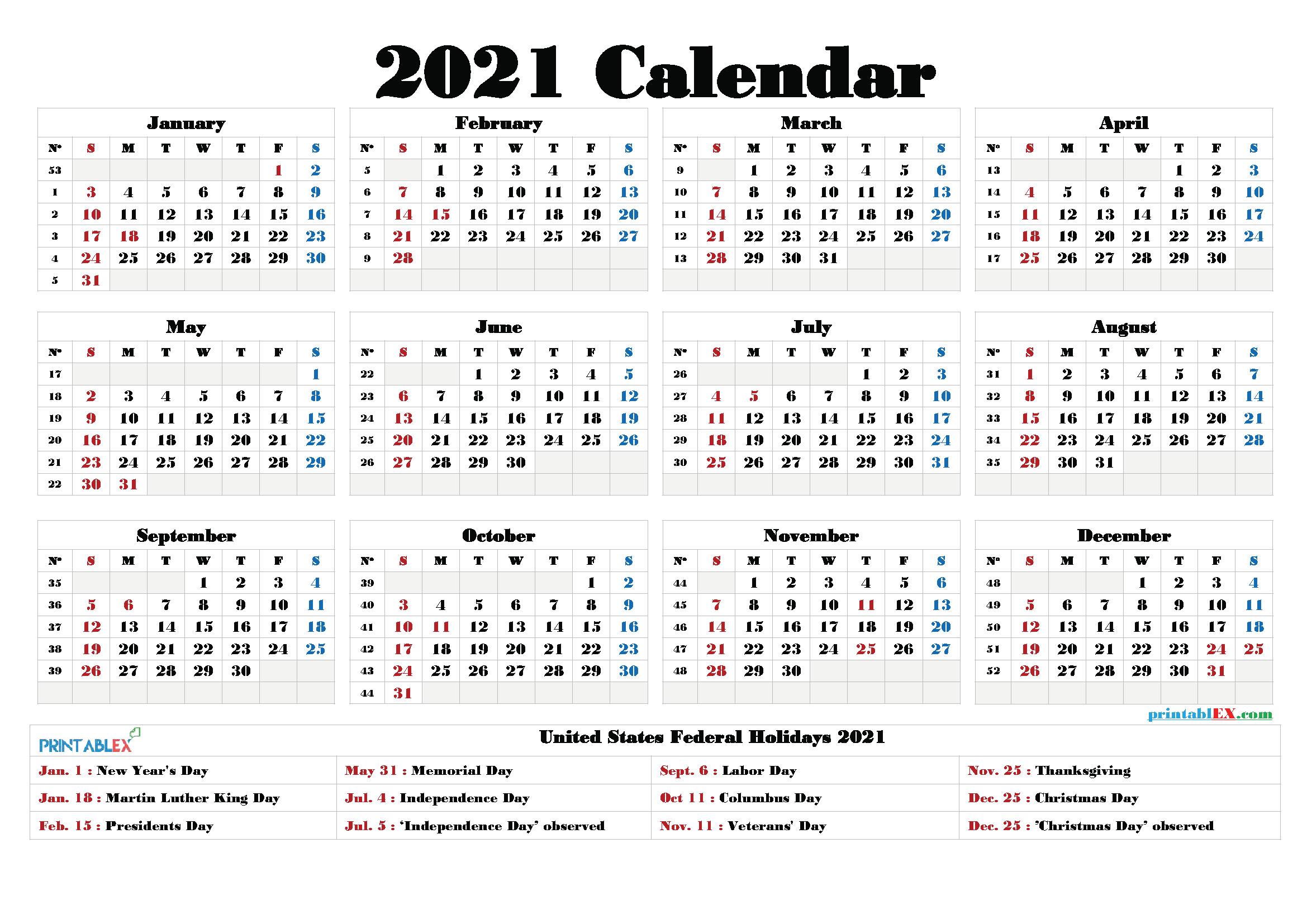 Free Printable Calendar 2021 Pdf And Png