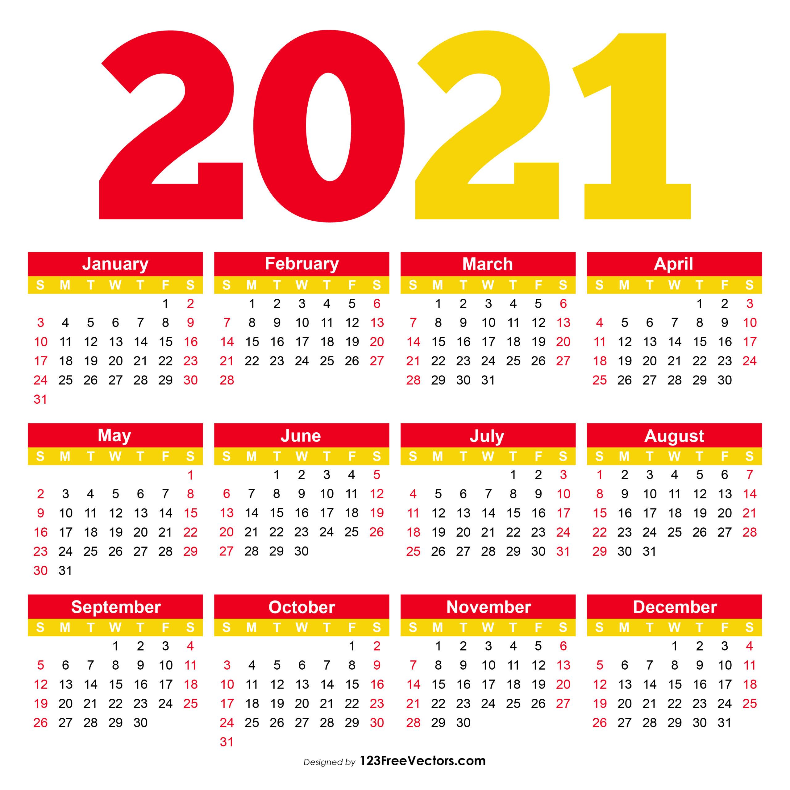 Free Printable Calendar 2021 Pdf