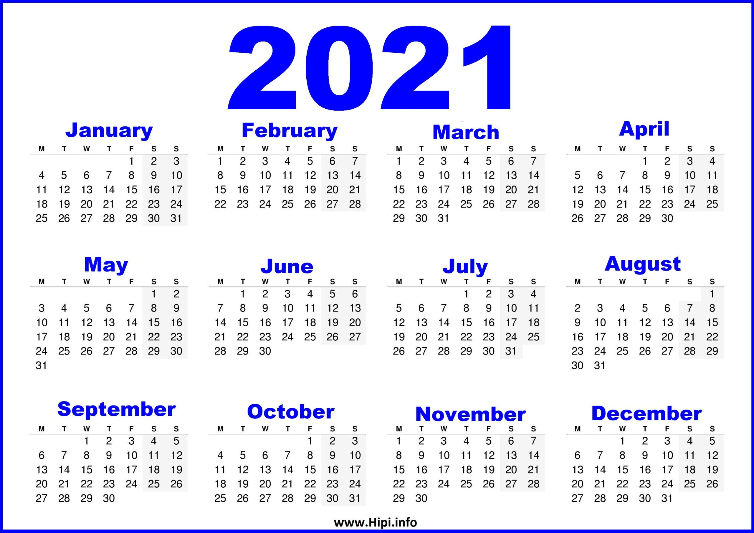 Free Printable Calendar 2021 Uk - Blue - Hipi