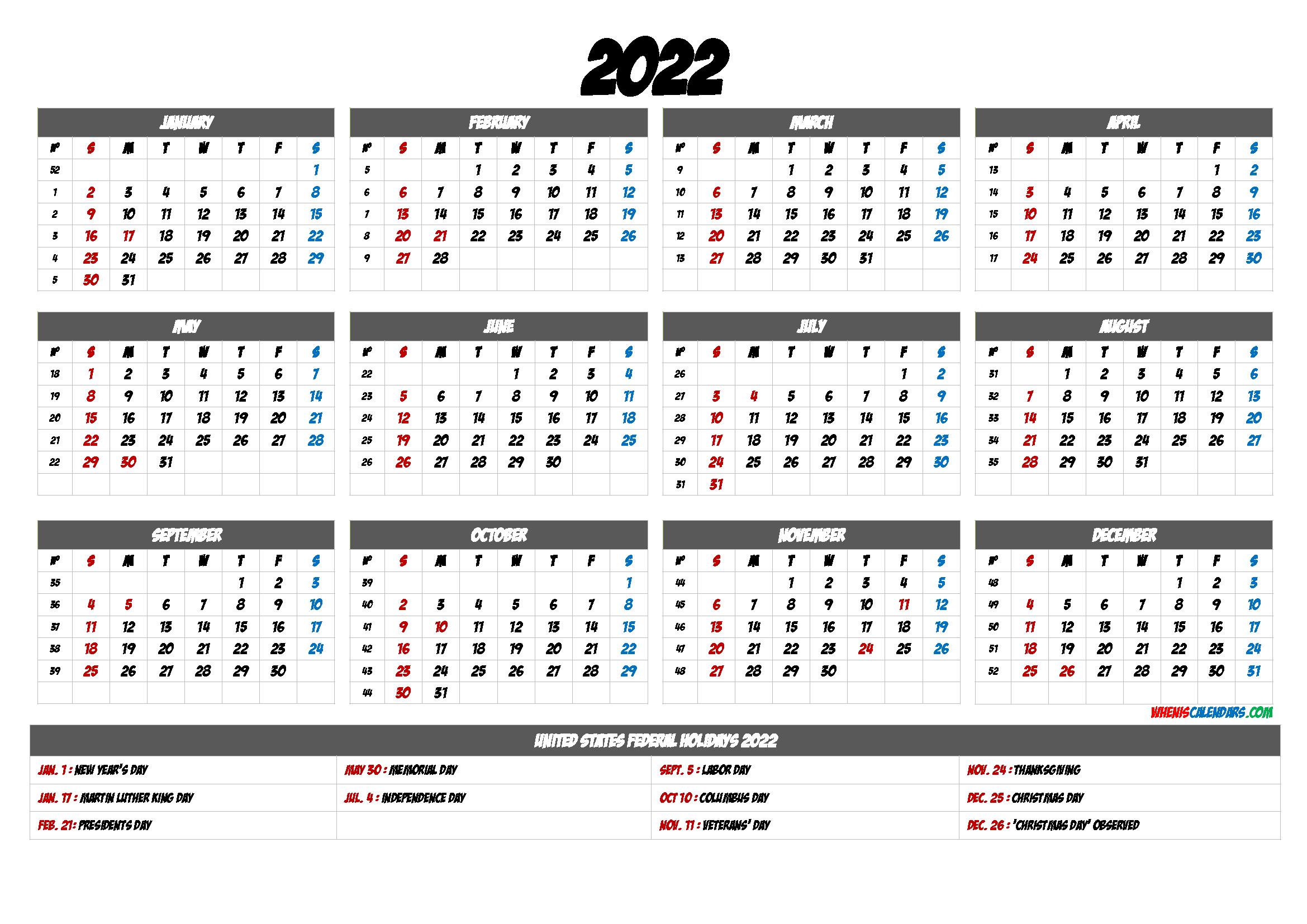 Free Printable Calendar 2022 – 6 Templates | Free Printable
