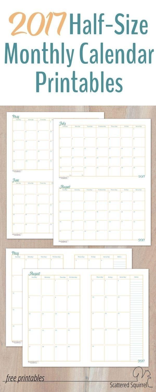 Free Printable Calendar Half Page | Calendar Printables