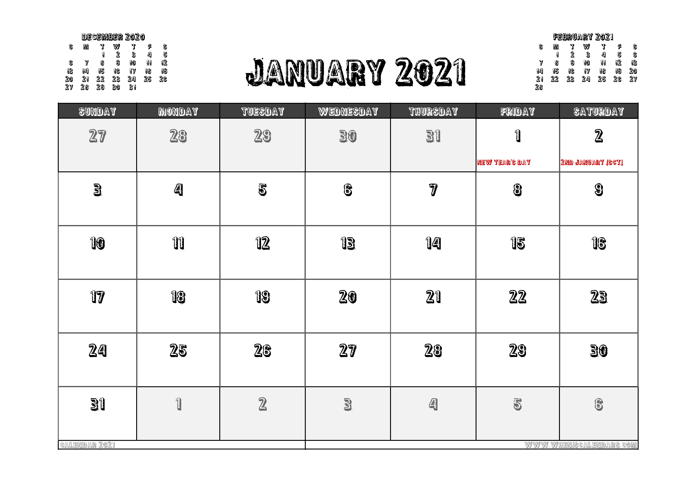 Free Printable January 2021 Calendar Uk | Free Printable