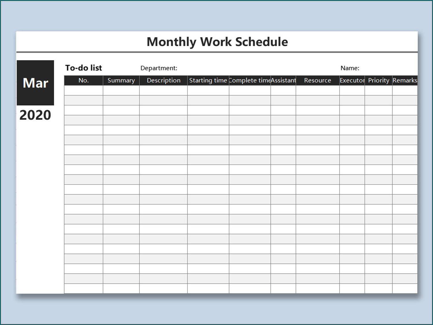 Free Printable Job Schedule Template | Bogiolo