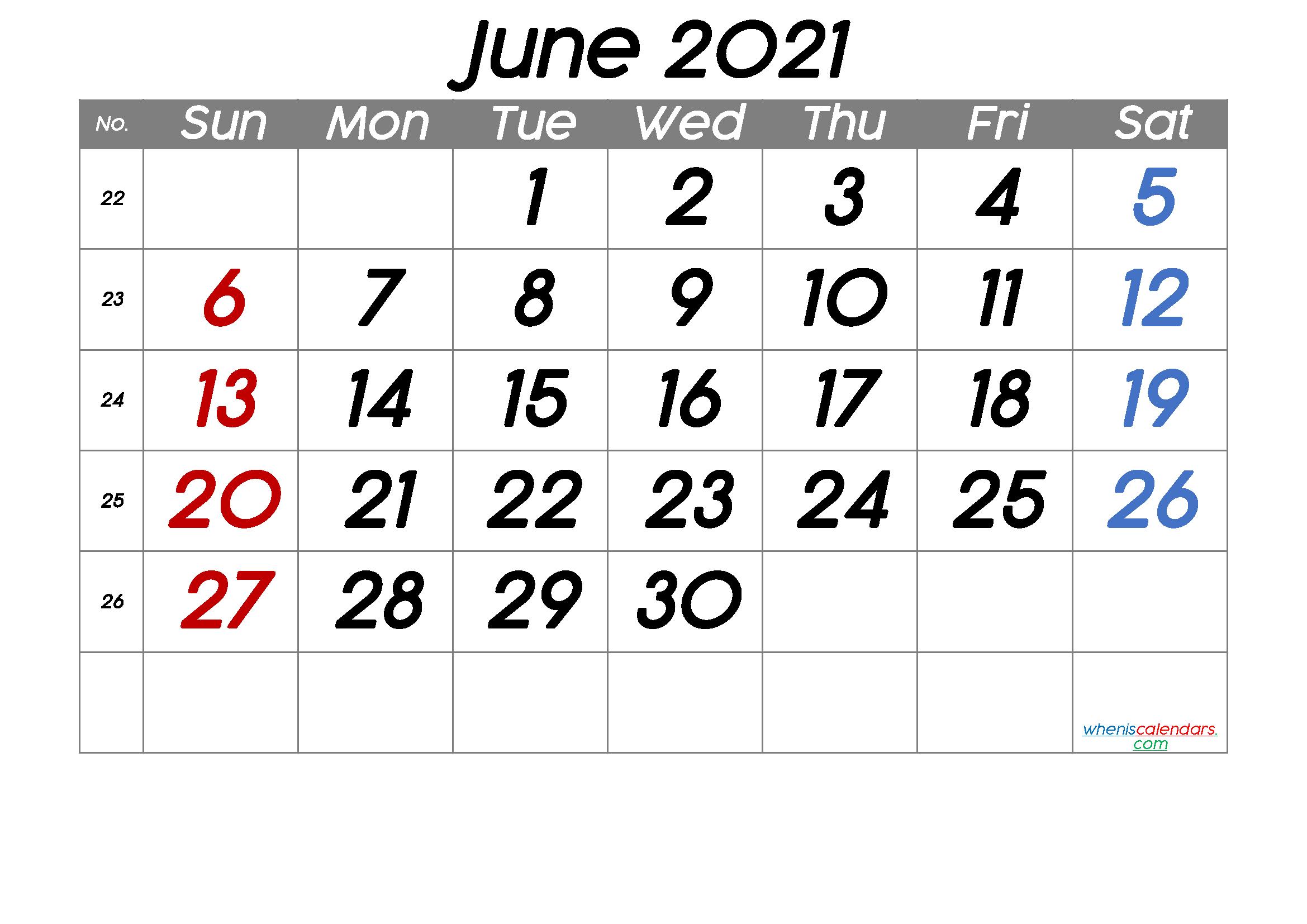 Free Printable June 2021 Calendar (Premium) | Calendar