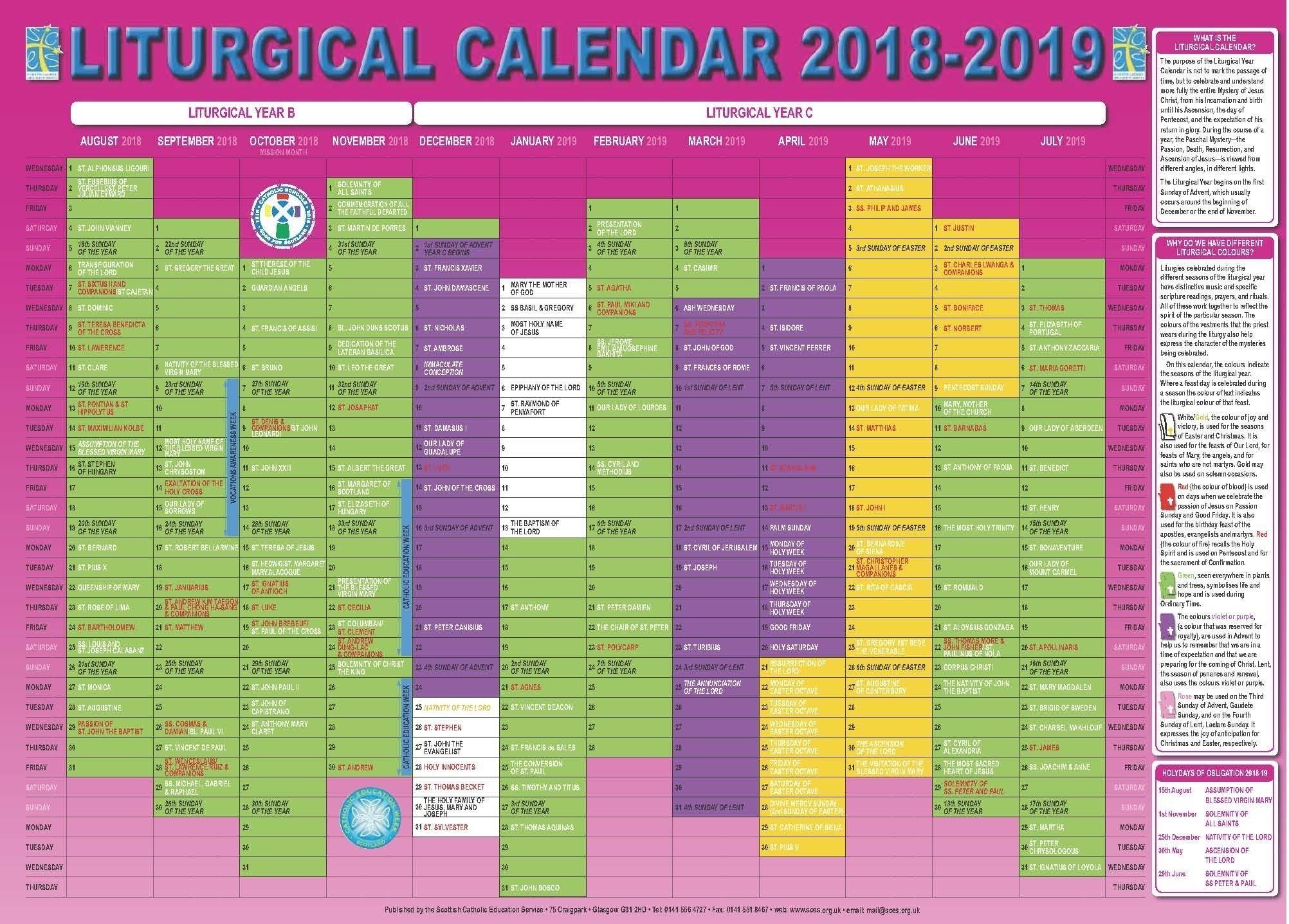 Free Printable Liturgical Calendar | Catholic Liturgical